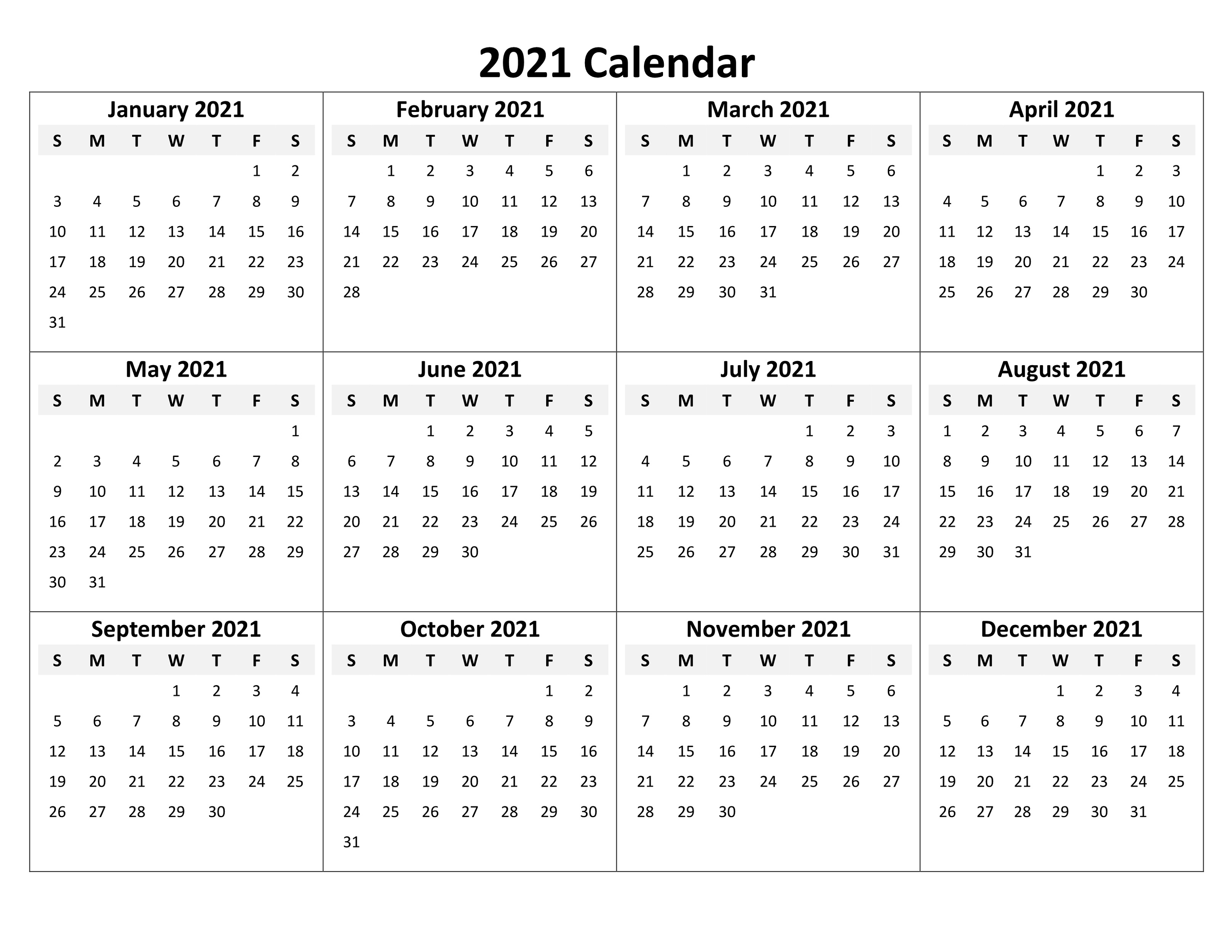 Printable Blank Calendar 2021 Yearly And Monthly | Calendar in 2021 Printable Calendar Free