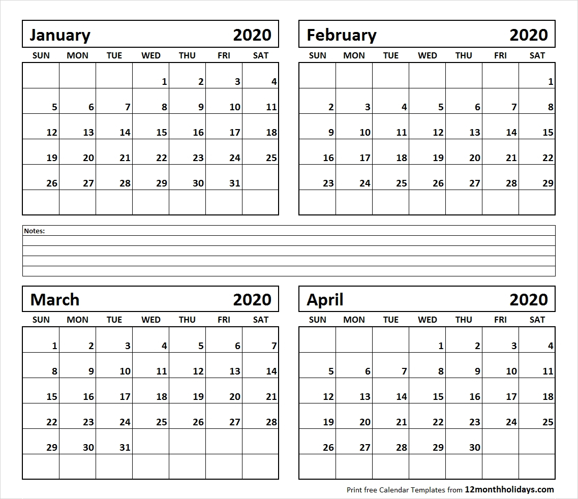 Printable Blank Four Month January February March April 2020 for Four Month Printable Calendar 2020