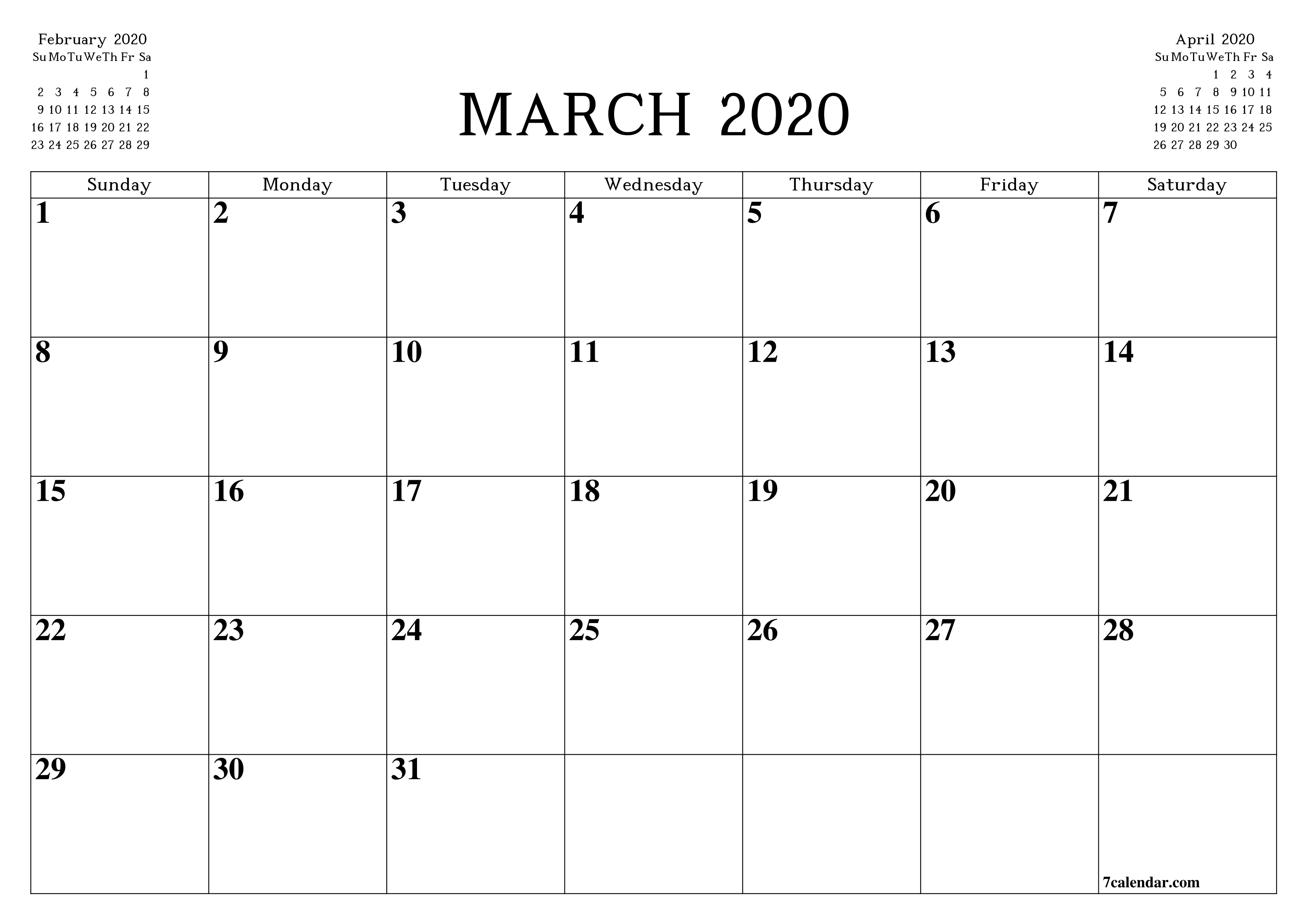Printable Blank Monthly Planner For March 2020 - A4, A5 And pertaining to October 2020 Printable Planning Calendar In Portrait