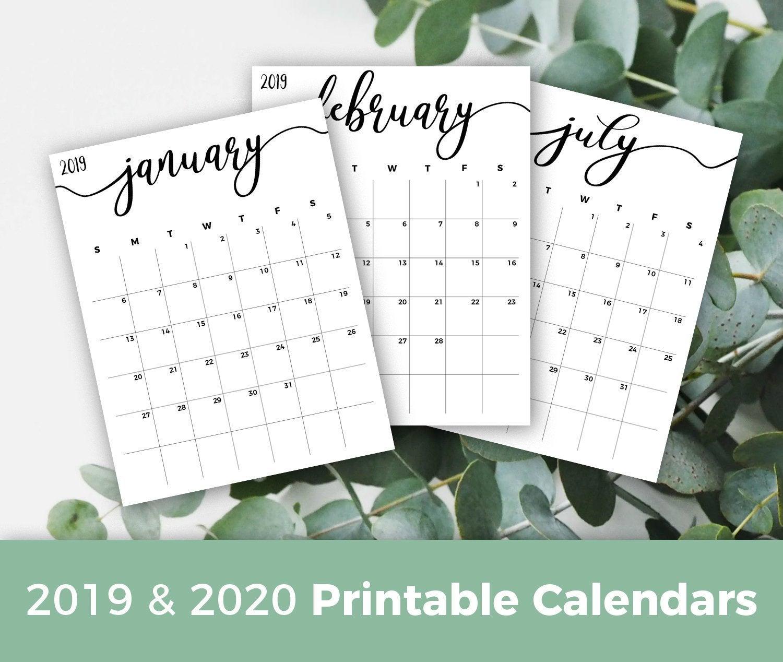 Printable Calendar 2019-2020, Calendar Planner Insert Minimalist Calendar  Pdf Minimal Monthly Calendar For Frame Planner Calendar Refills intended for Calendar 2020 Nl