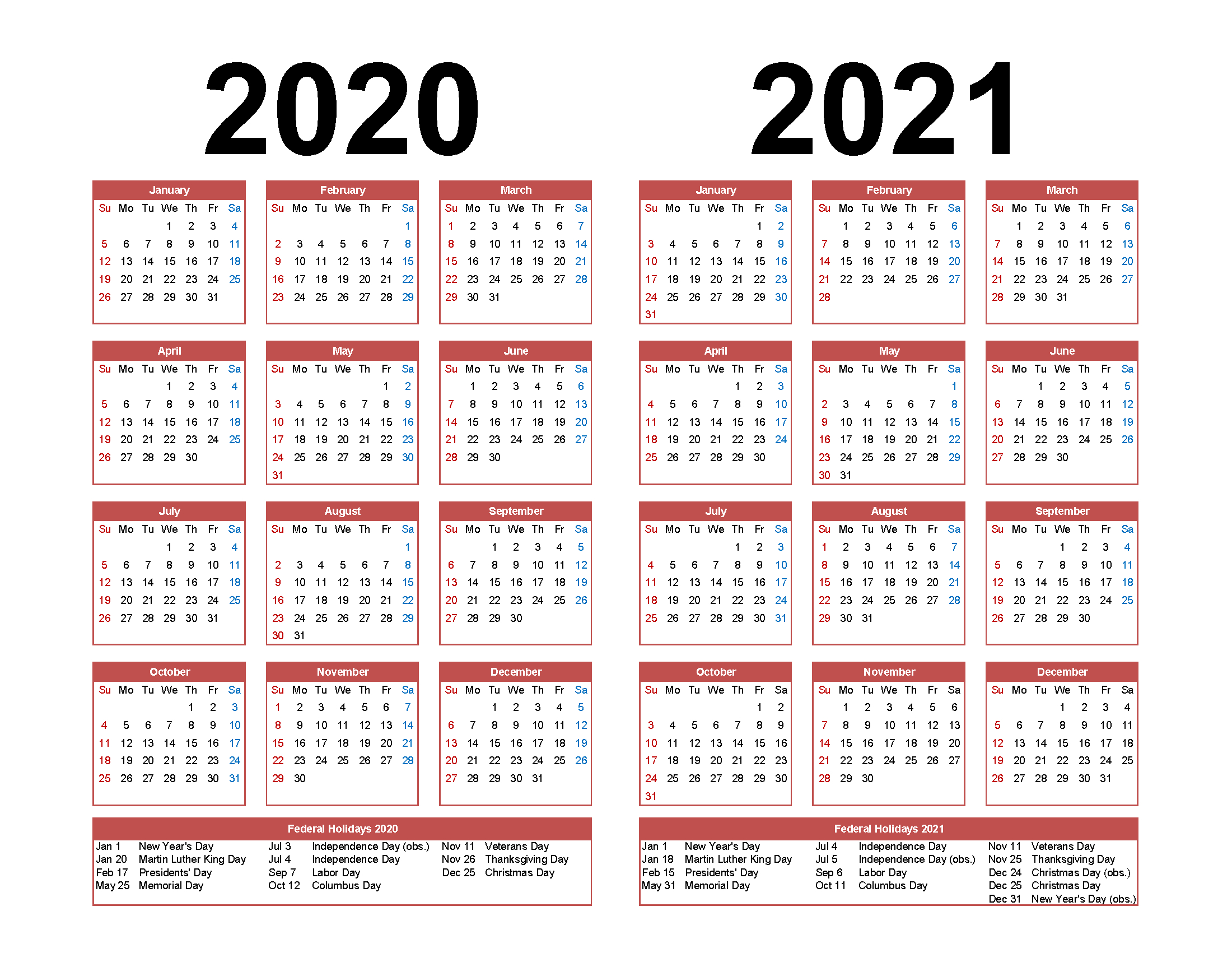 Printable Calendar 2020 2021 Two Year Per Page Free Pdf in 2 Year Calendar 2020 2021