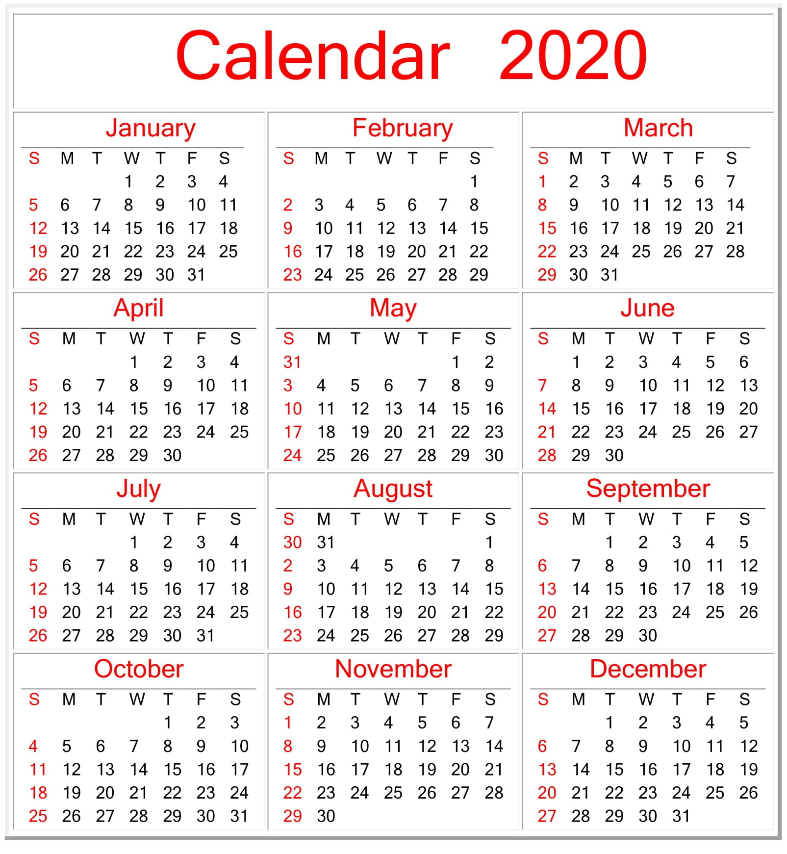 Printable Calendar 2020 Pdf Template – Free Latest Calendar inside Yearly Printable Calendar 2020