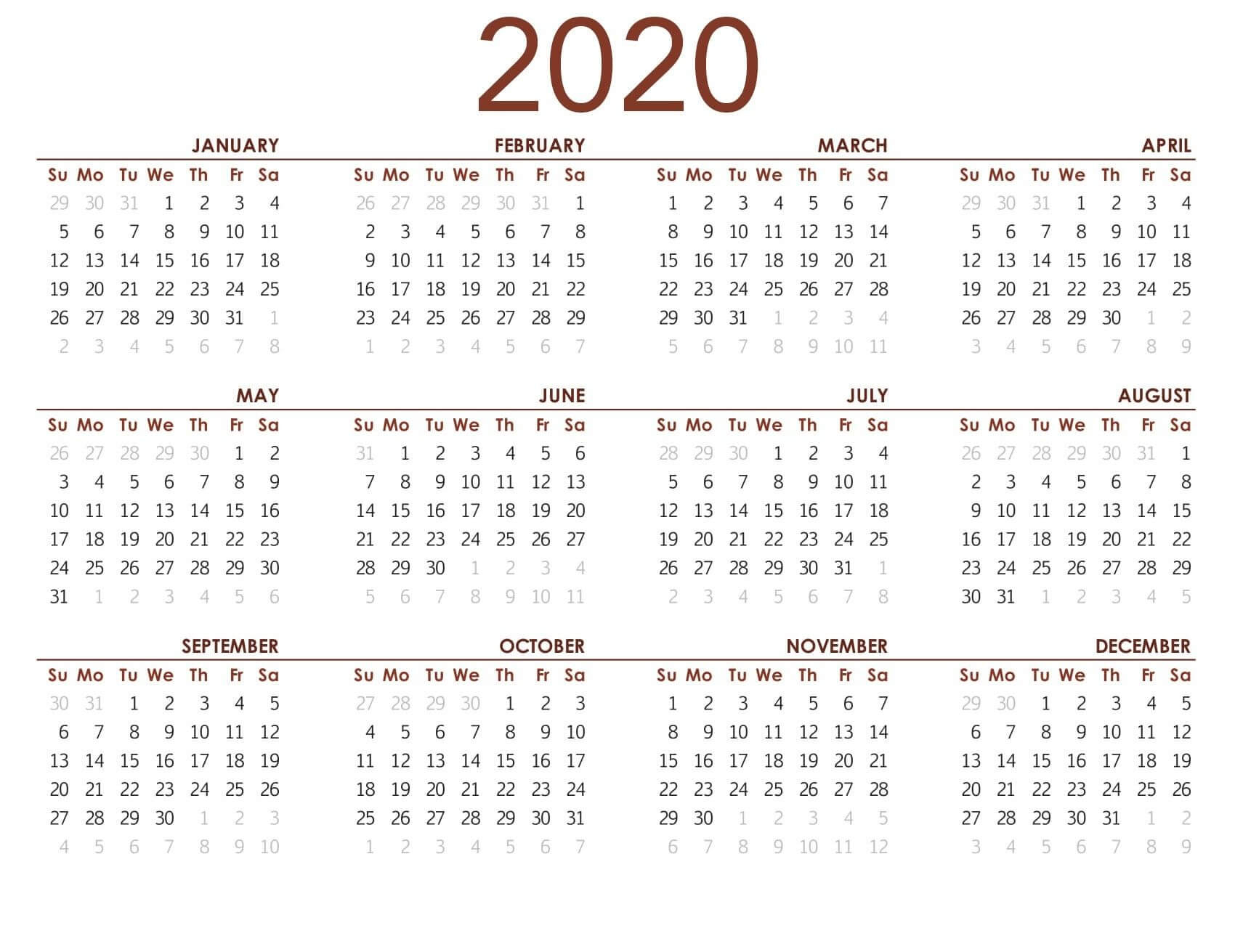 Printable Calendar 2020 With Notes - 2019 Calendars For in Calendar At A Glance With Usa Holidays For 2020