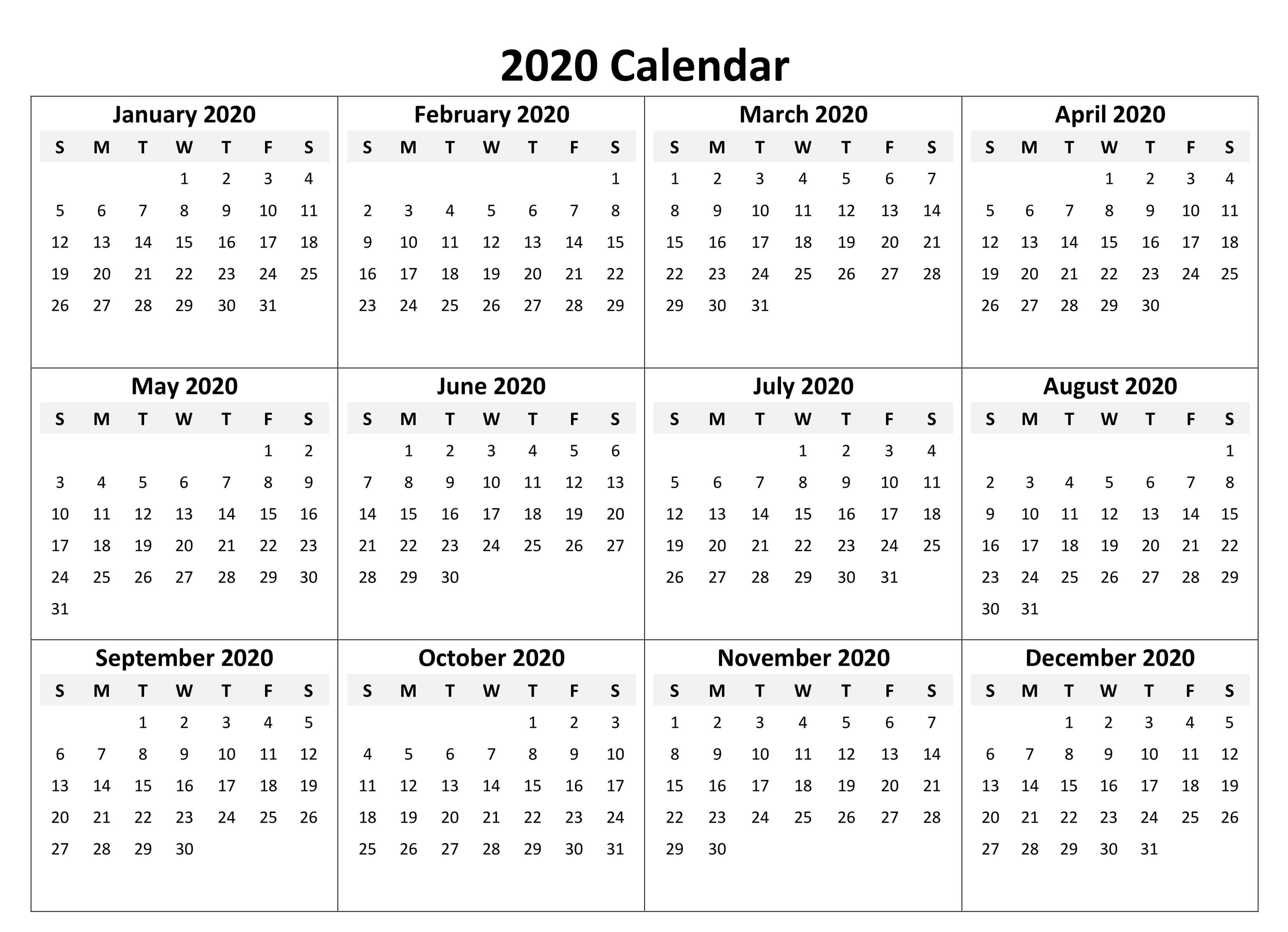 Printable Calendar 2020 With Notes - 2019 Calendars For regarding Calendar At A Glance With Usa Holidays For 2020