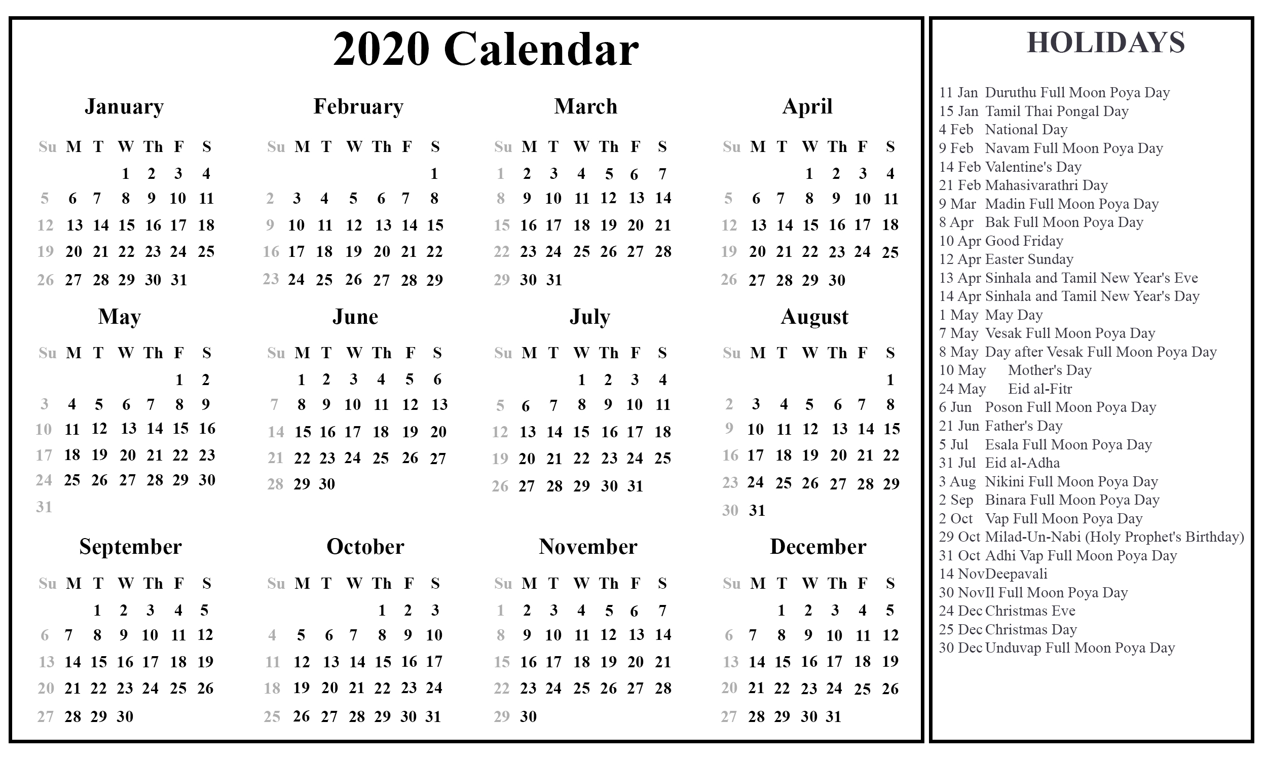 Printable Calendar 2020 With Sri Lanka Holidays | Printable with 2020 Calendar With Holidays