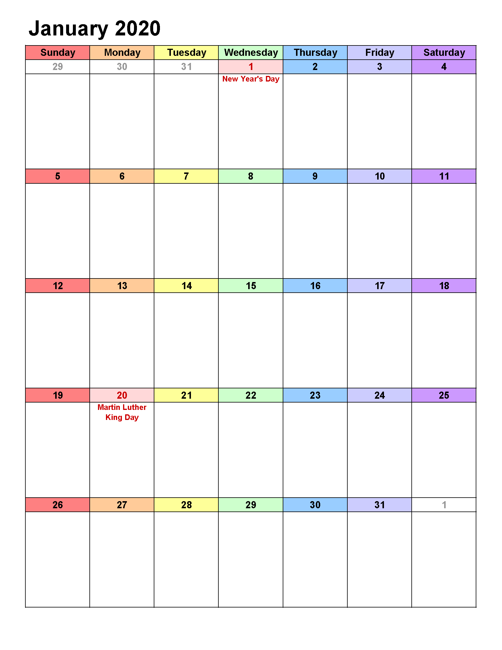 Printable Calendar Template January 2020 Calendar Portrait with 2020 Calendar By Month And Week Number Excel
