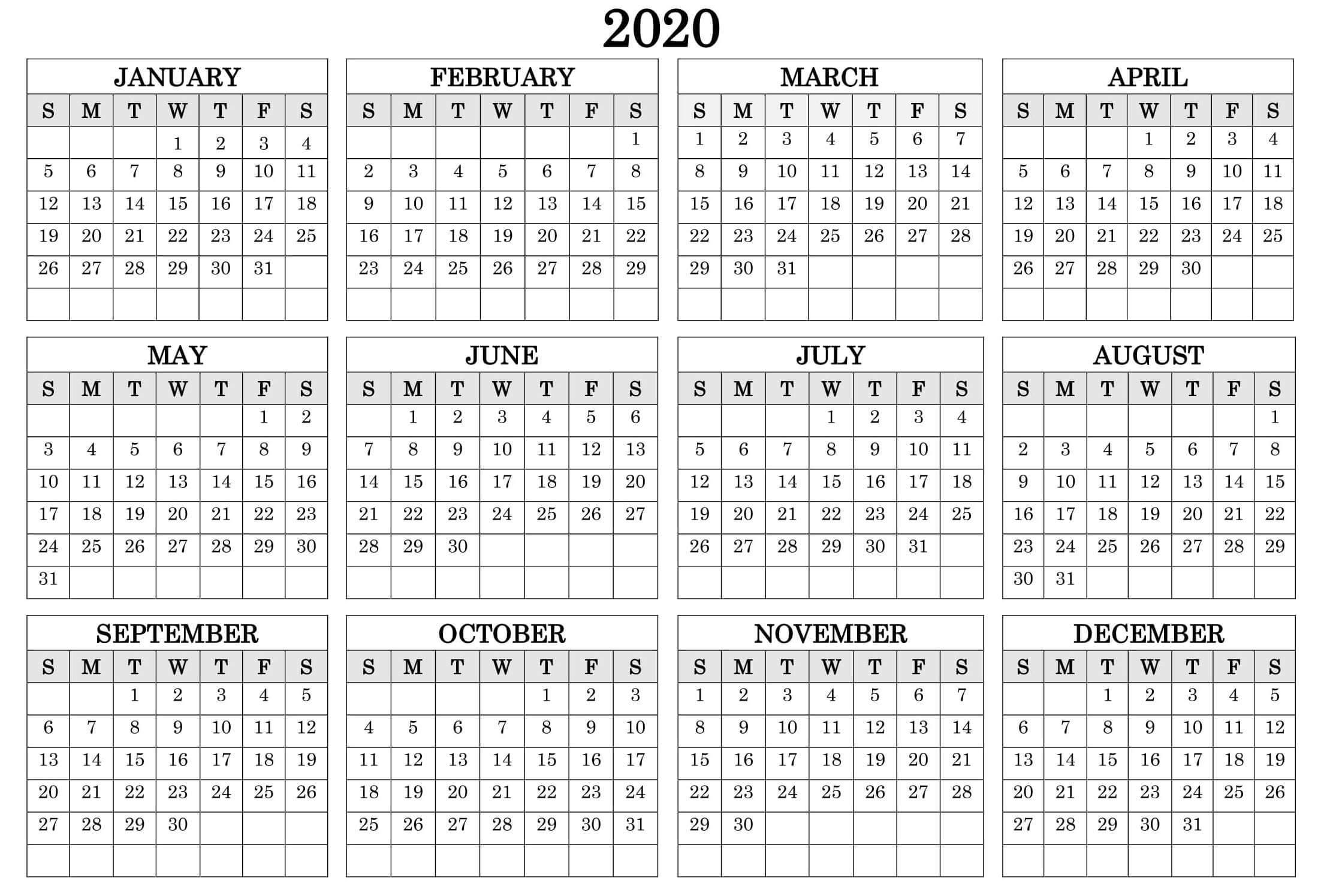 Printable Calendar Year 2020 Holidays Fillable Pdf - Set with Yearly Printable Calendar 2020