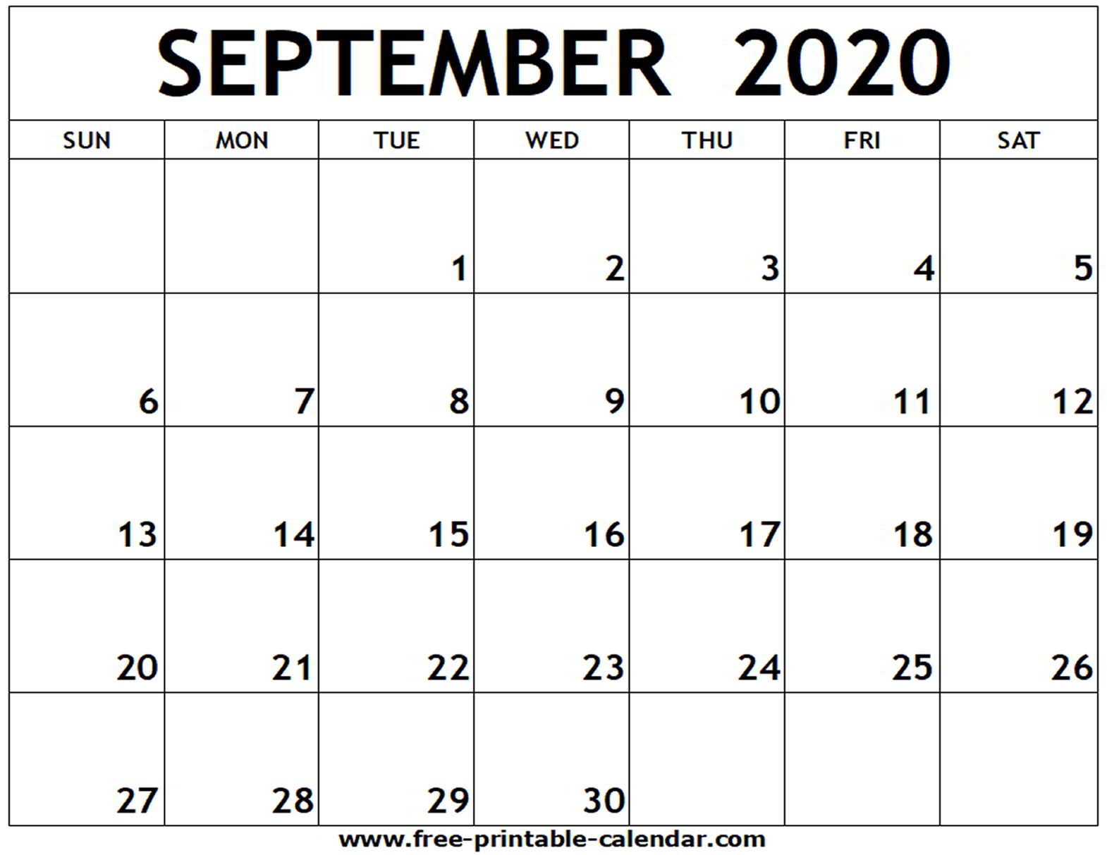 Printable Calendars September 2020 - Wpa.wpart.co throughout Free Printable Monthly Calendar September 2020
