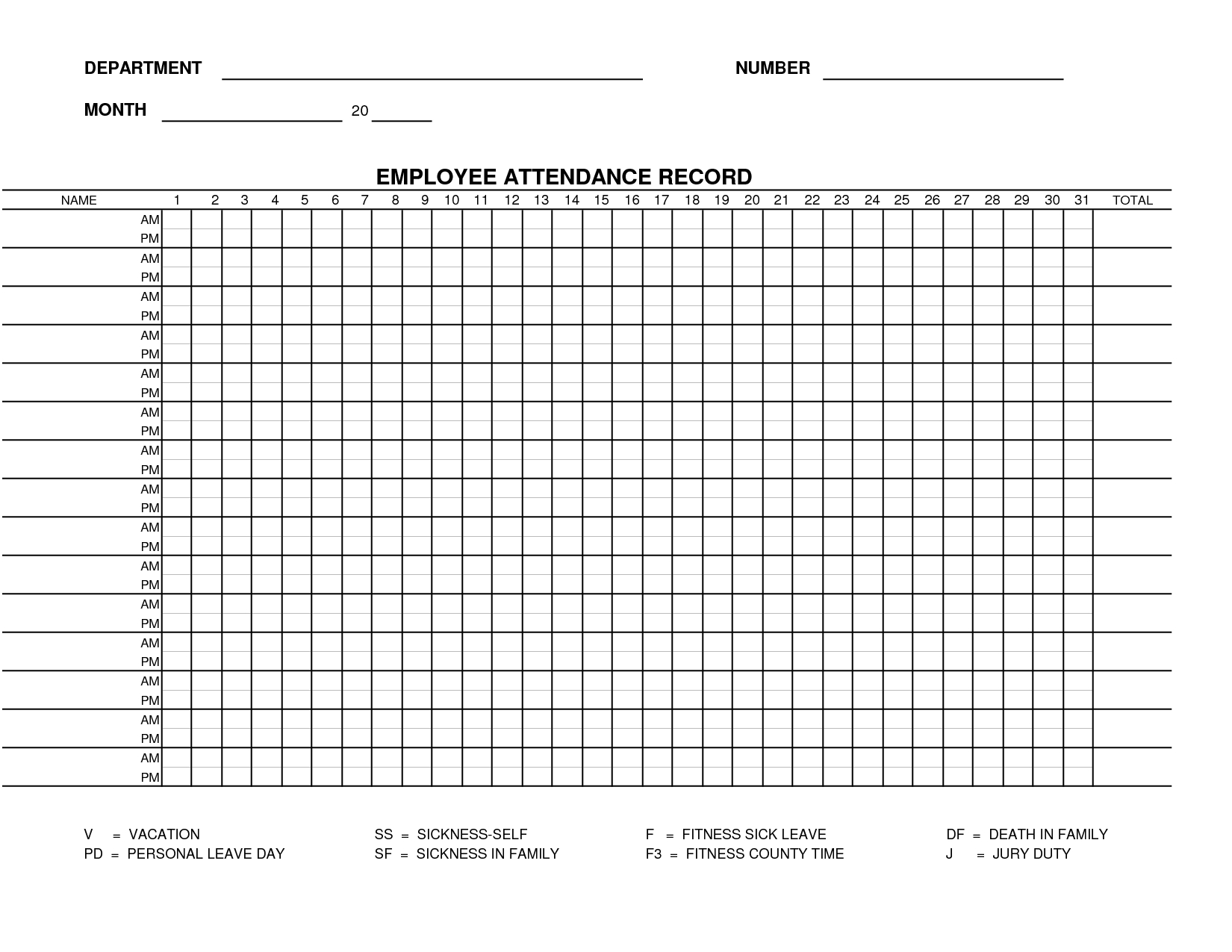 Printable Employee Attendance Sheet Template | Form 15 in Attendance Tracker Printable