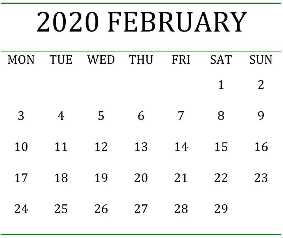 Printable February 2020 Calendar Pages Large Print – Free for Large Numbers Free Printable Calendar 2020