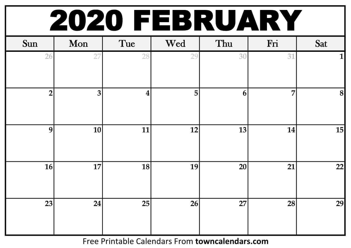 Printable February 2020 Calendar – Towncalendars – Printable for Vertex 2020 Calendars Monday Through Sunday