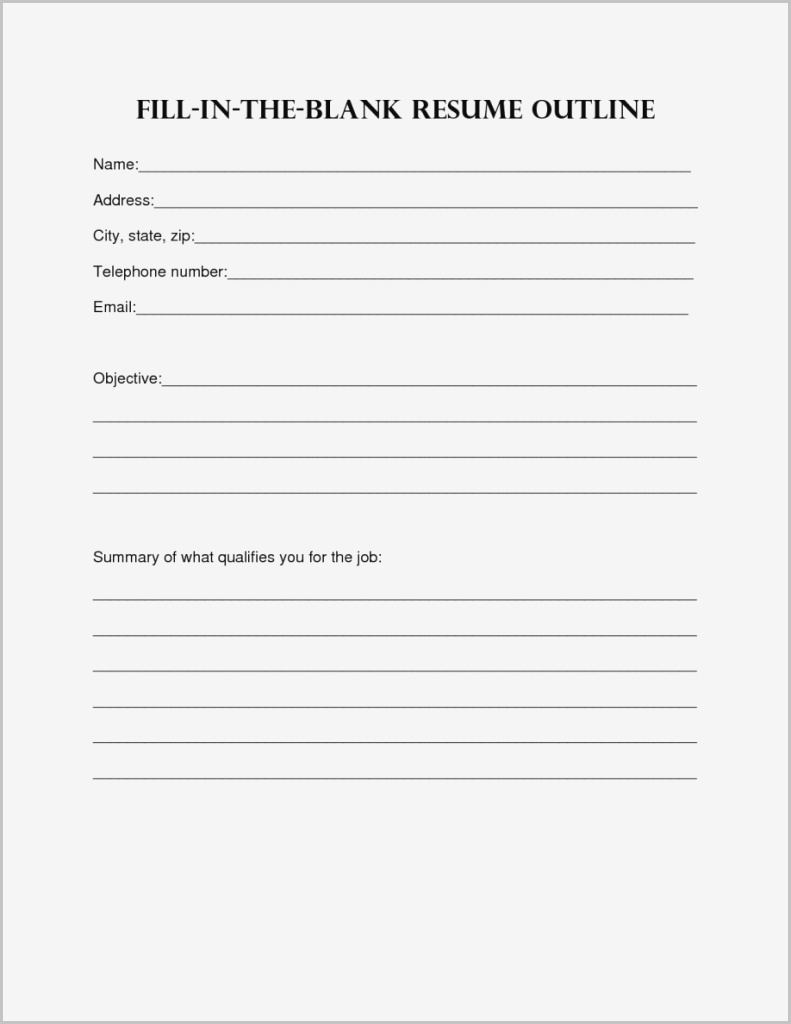 Printable Fill In The Blank Resume Form - Resume with Printable Social Skills Fill In The Blanks