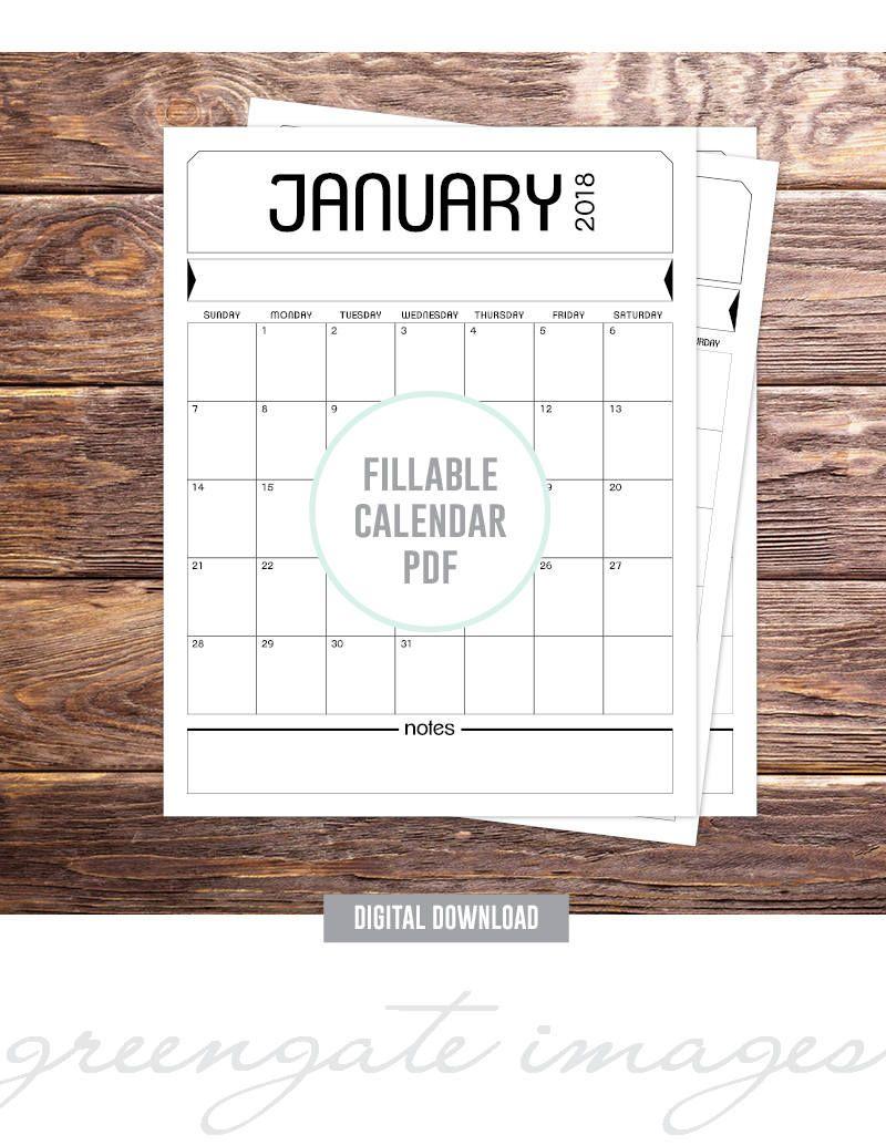 Printable Fillable Calendar Pdf - Editable Calendar, 2018 within 8.5 X 11 Calendar Template