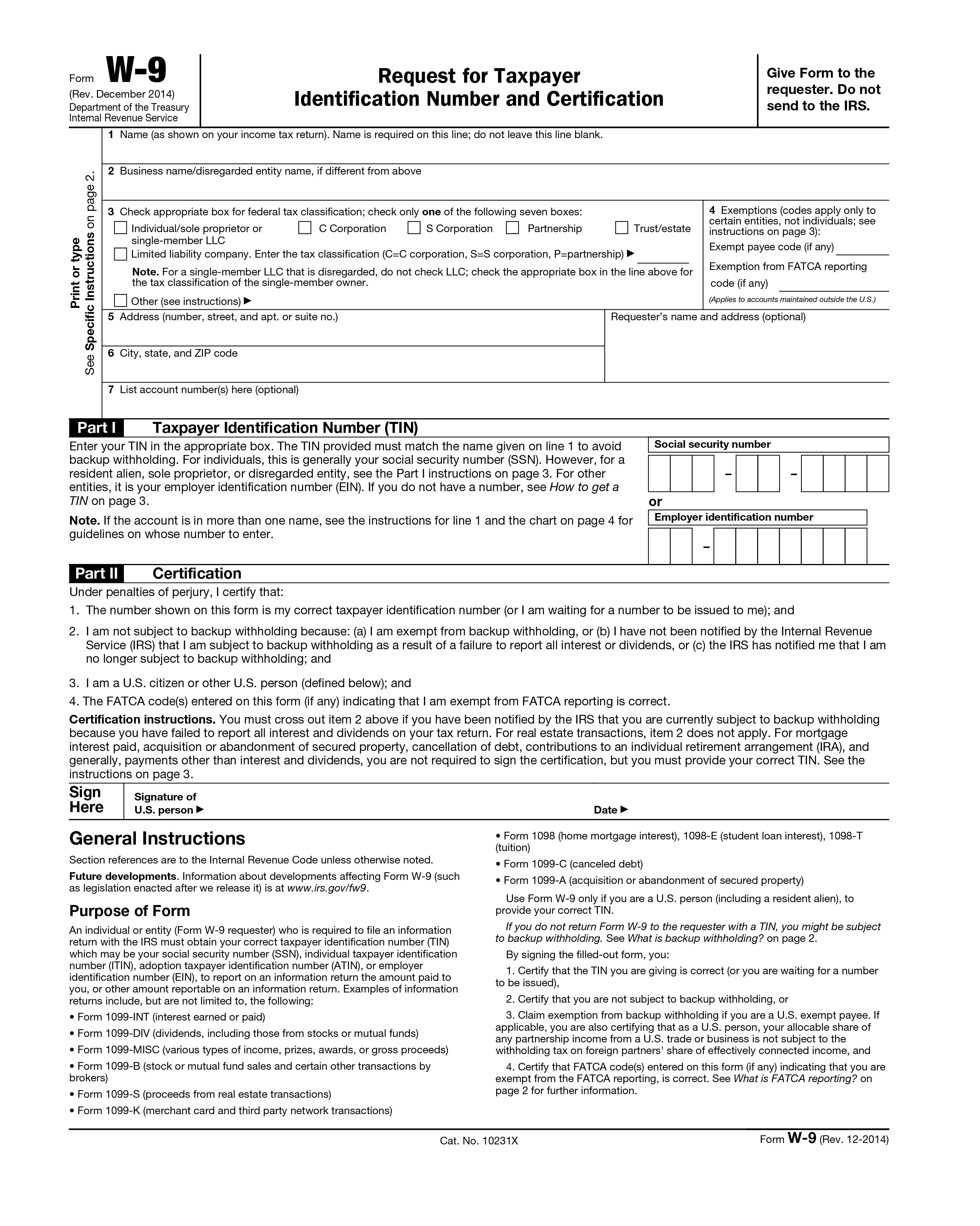 Printable Irs W-9 Blank 2019 - 2020 For Free Use throughout 2020 W-9 Form