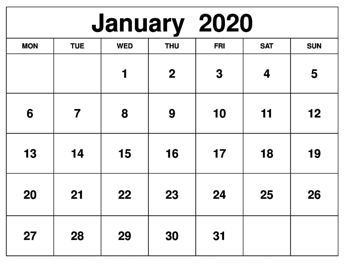 Printable January 2020 Calendar – Daily Planner | 12 Month intended for 2020 Printable Calendars Beginning With Monday