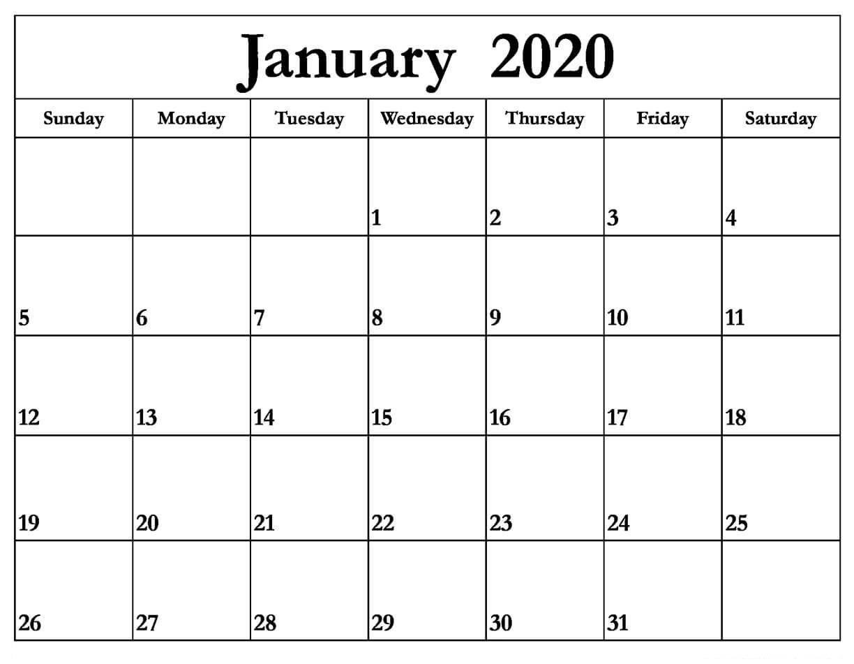 Printable January 2020 Calendar – Daily Planner   12 Month throughout Small Monthly Calendar Printable 2020 October