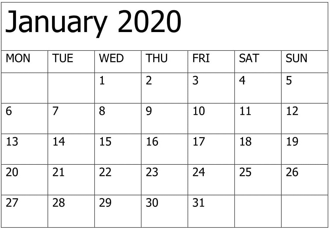 Printable January 2020 Calendar Editable Pages – Free Latest for January 2020 Calendar