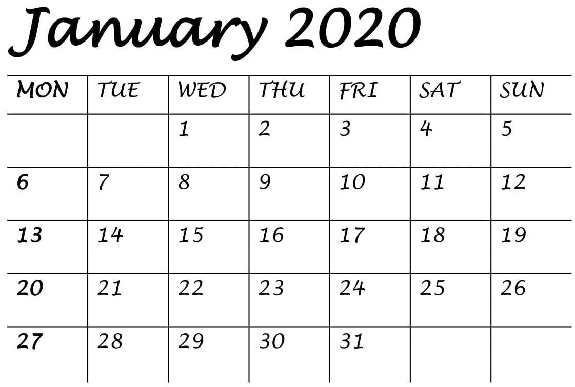 Printable January 2020 Calendar Editable Pages – Free Latest with Small Monthly Calendar Printable 2020 October