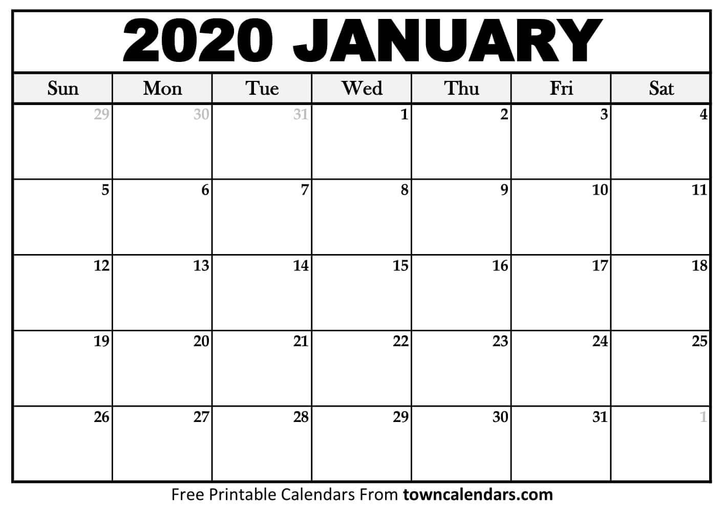 Printable January 2020 Calendar - Towncalendars for January 2020 Calendar