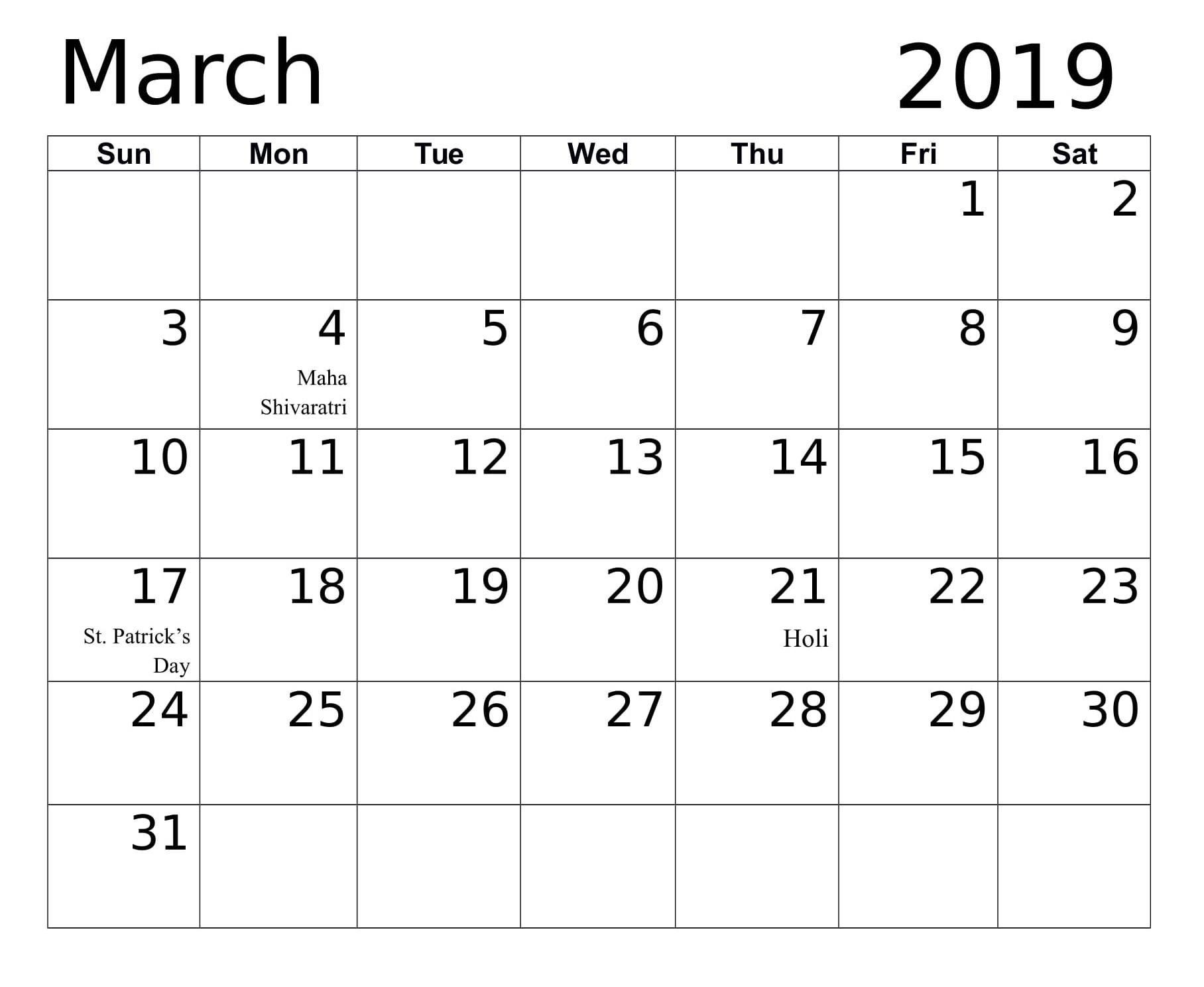 Printable March 2019 Calendar Canada - Free Printable regarding Printable Canadian Calendar With Holidays