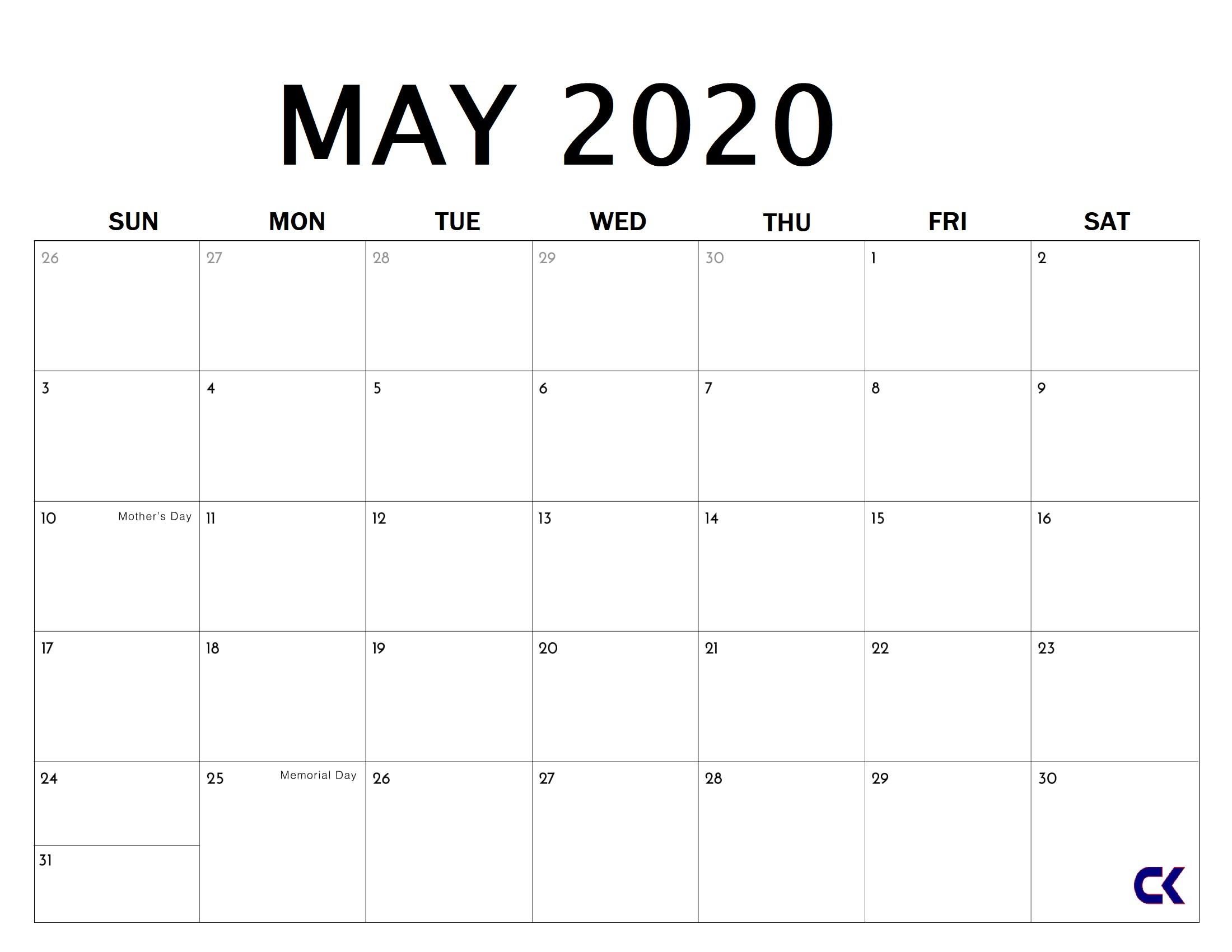 Printable May 2020 Calendar - Calendar-Kart with regard to Free Printable 2020 Calendars Large Numbers