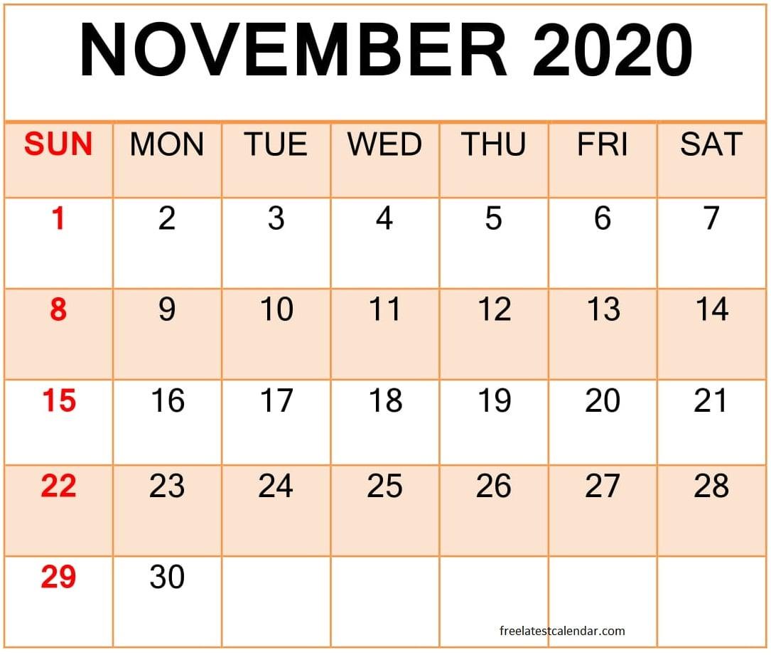 Printable November 2020 Calendar - Album On Imgur in Bring Up Calander For October And November 2020