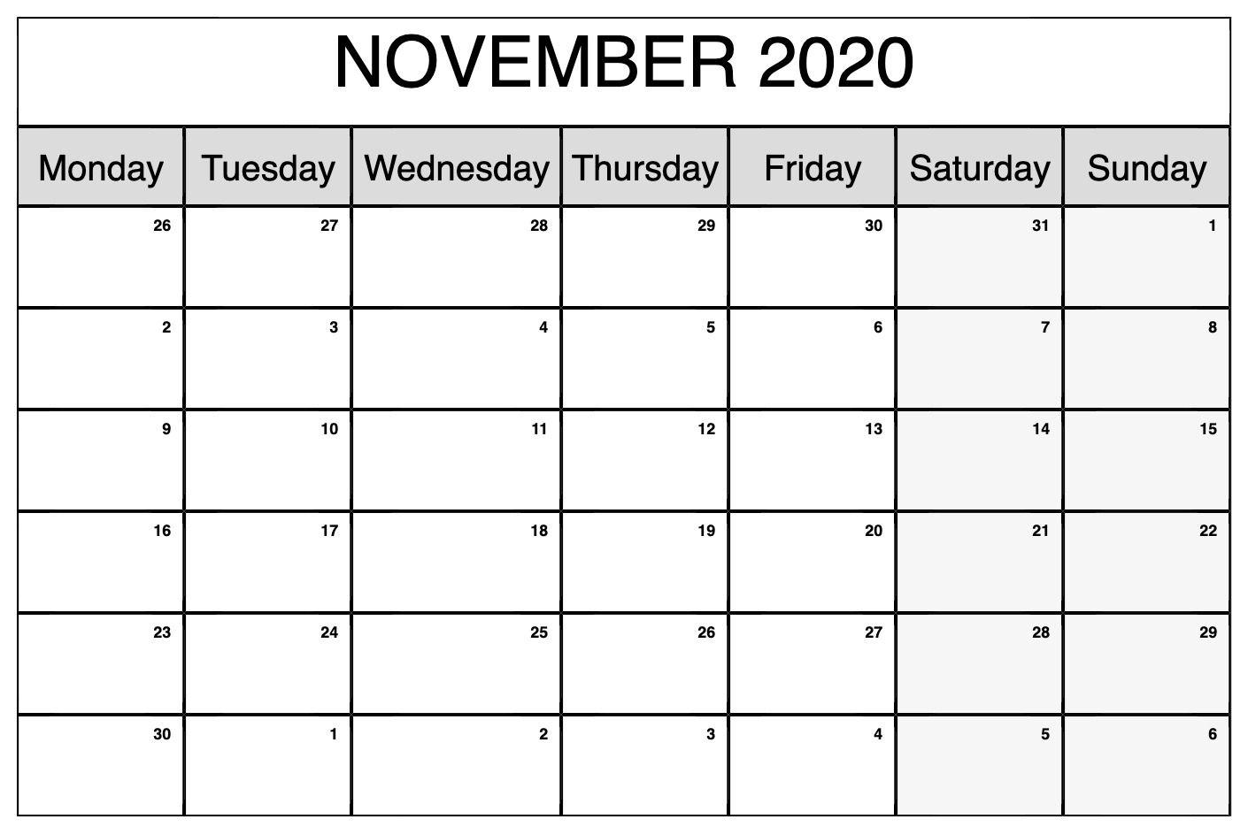 Printable November 2020 Calendar | November Calendar intended for Bring Up Calander For October And November 2020