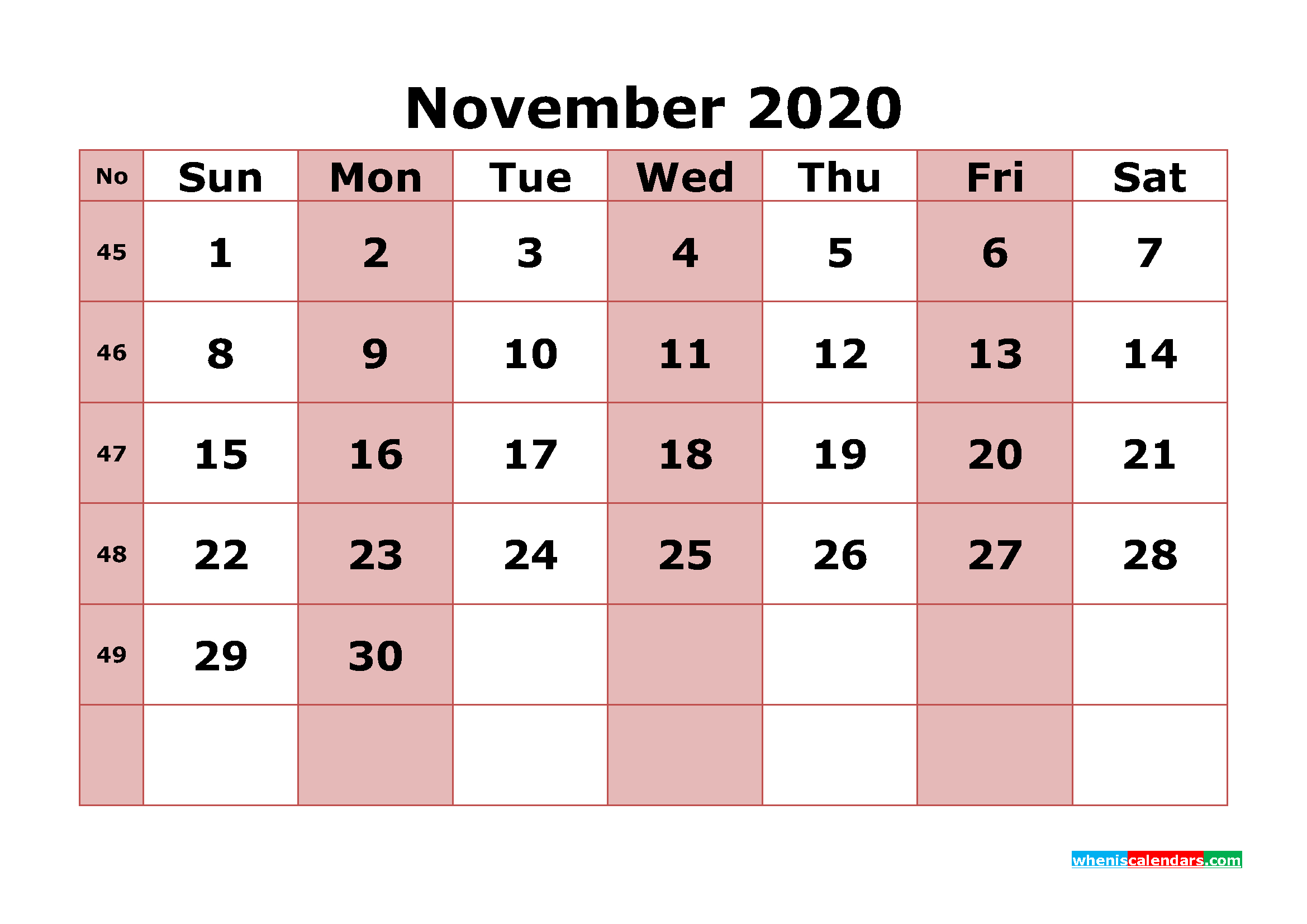 Printable November 2020 Calendar With Week Numbers | Free inside 2020 Monthly Calinder With Week Numbers
