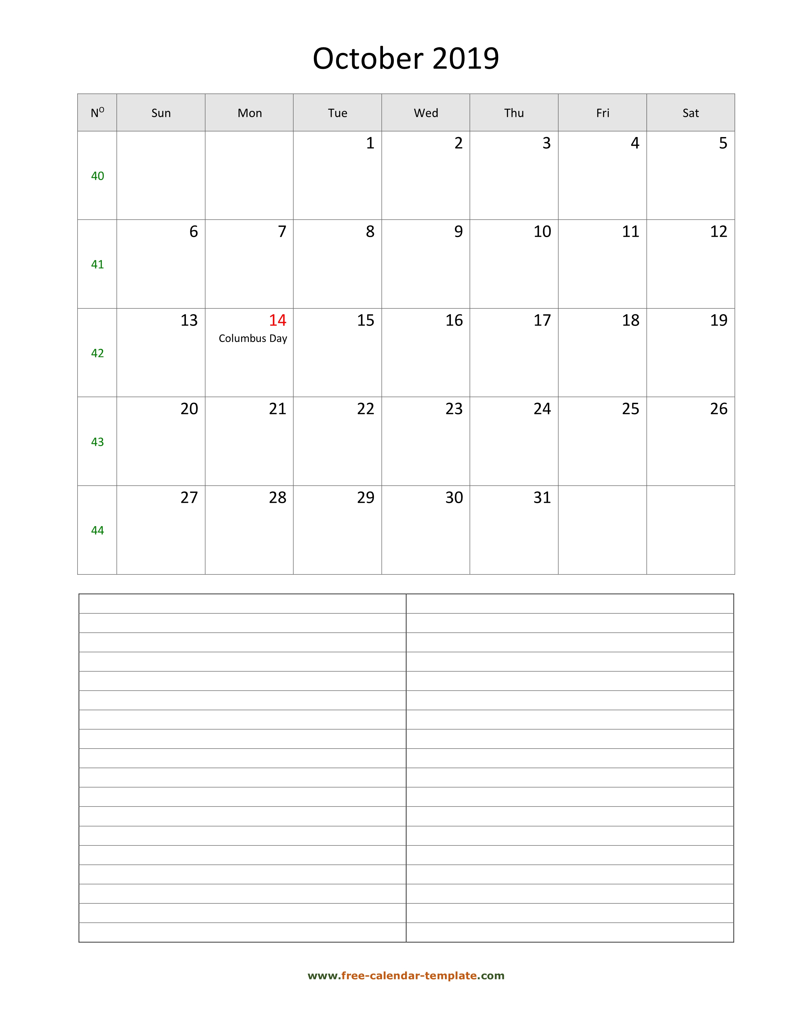 Printable October 2019 Calendar With Space For Appointments for October 2020 Printable Planning Calendar In Portrait