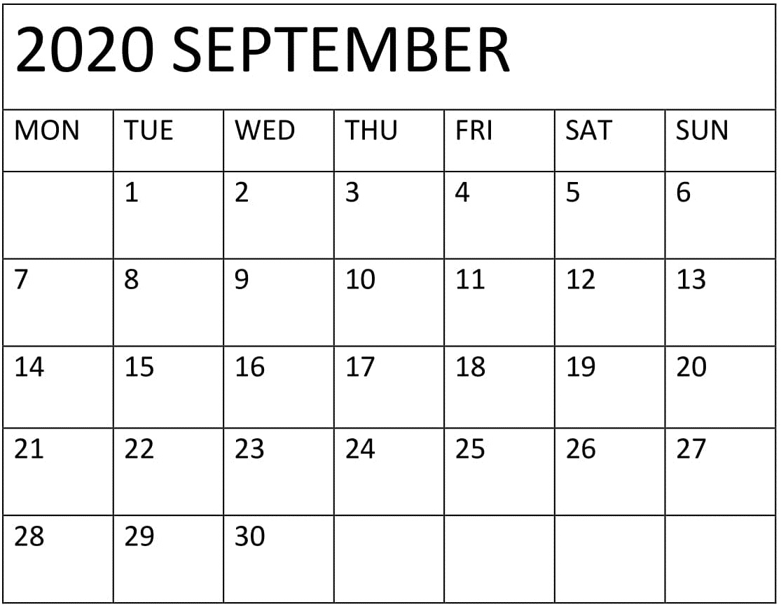 Printable September 2020 Calendar Monthly Pdf – Free Latest inside Free Printable Monthly Calendar September 2020