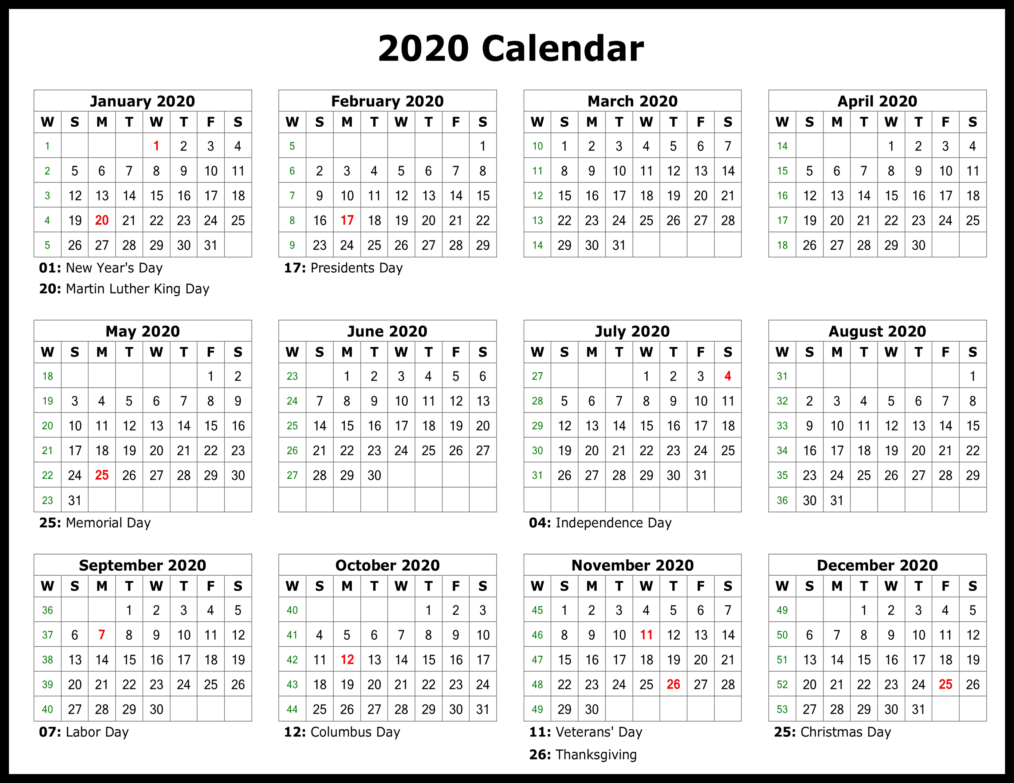 Printable Template Calendar for Yearly Printable Calendar 2020