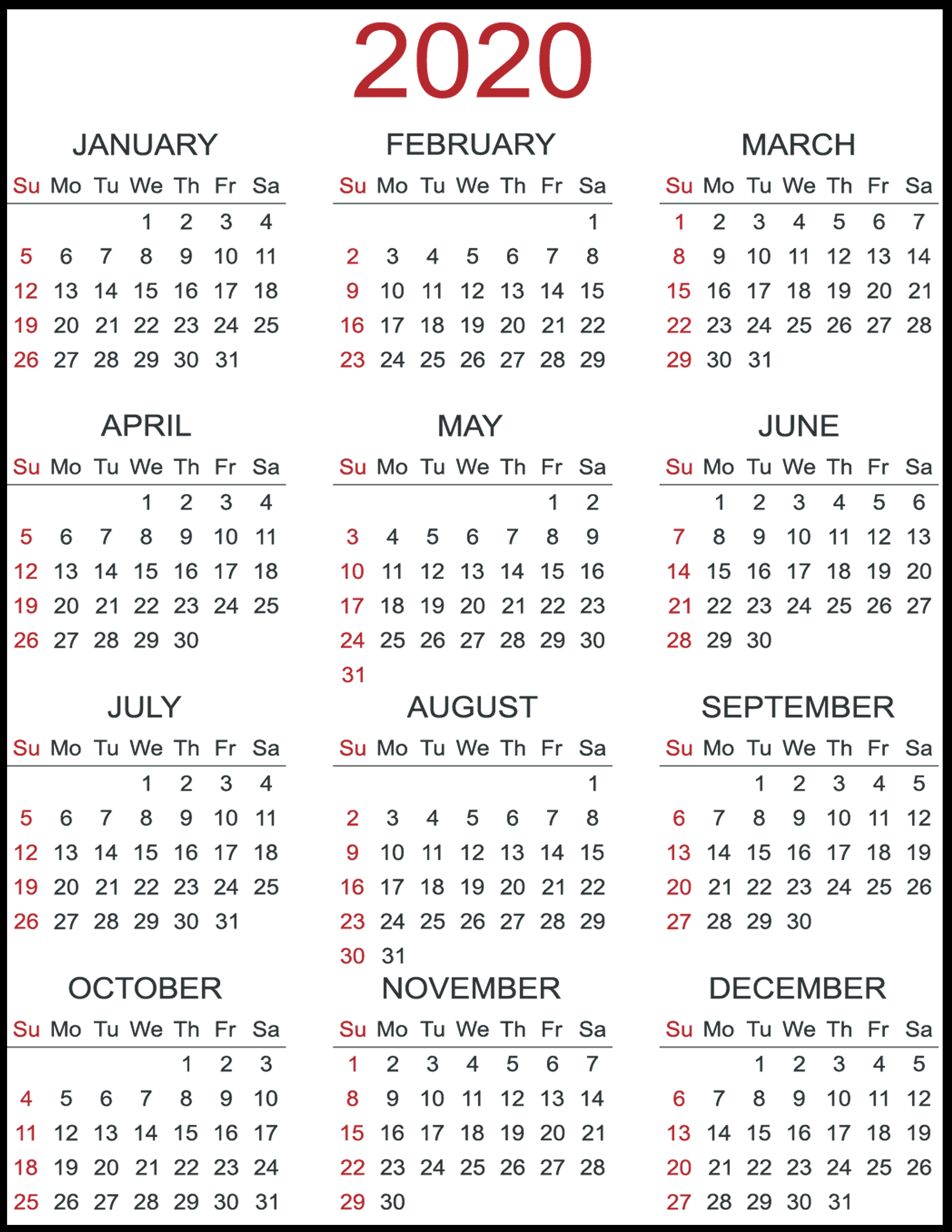 Printable Template Calendar in 2020 Calendar Free Printable