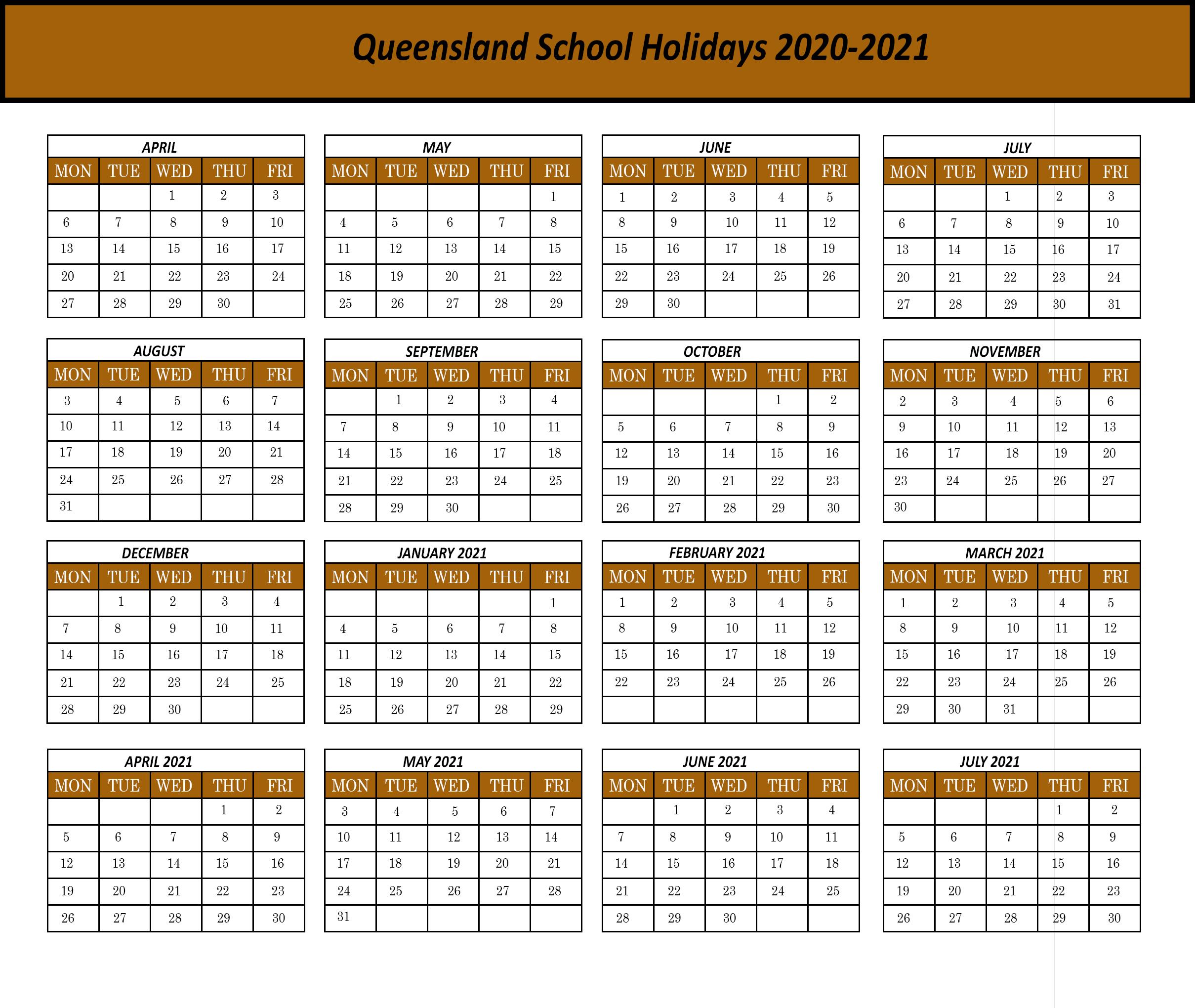 Qld-2020 | Printable Template Calendar with regard to 2020 Qld School Calendar Printable