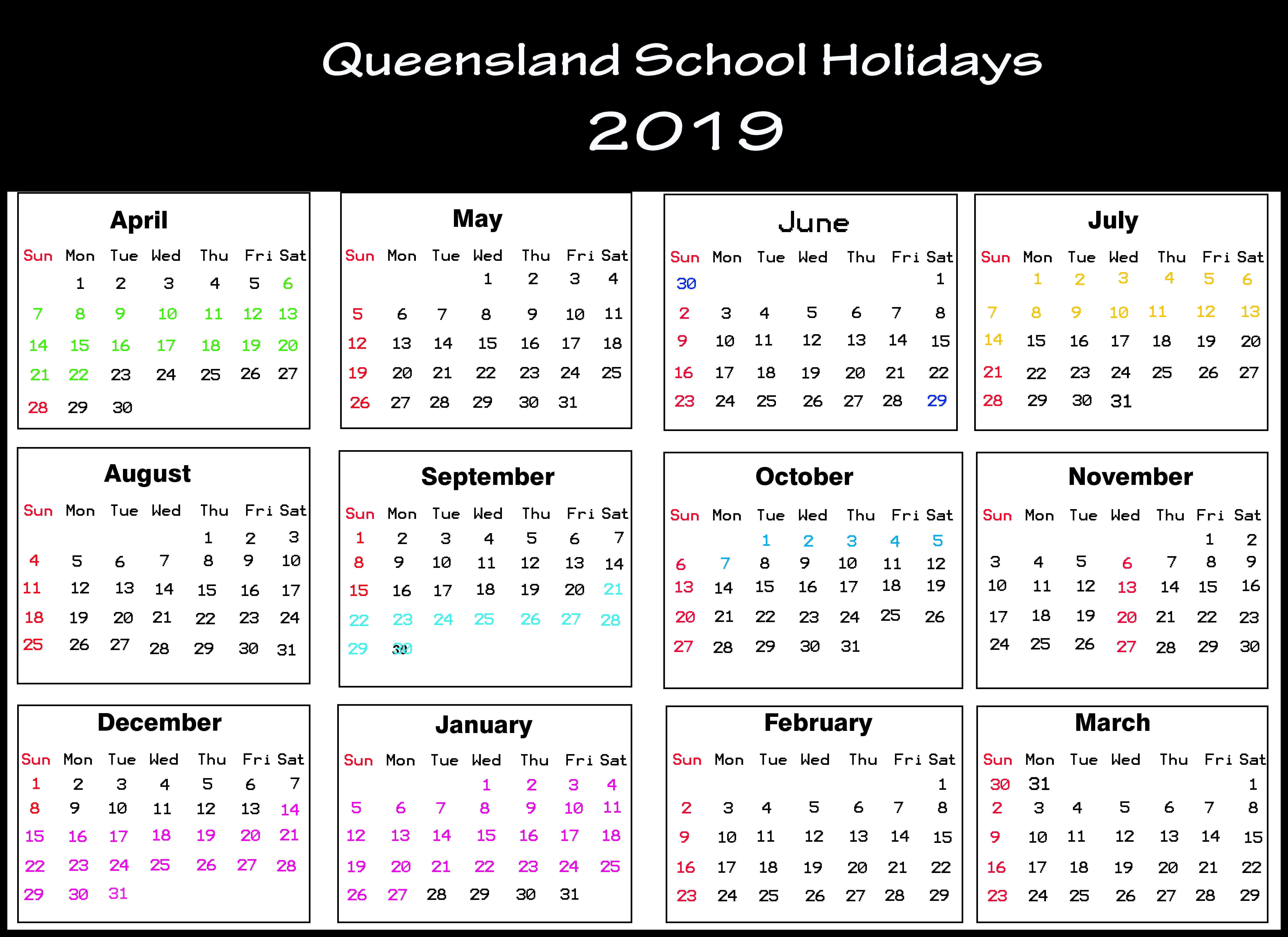 Qld School Calendar 2019 | Queensland (Qld) School Holidays for Qld School Calendar 2020 Printable