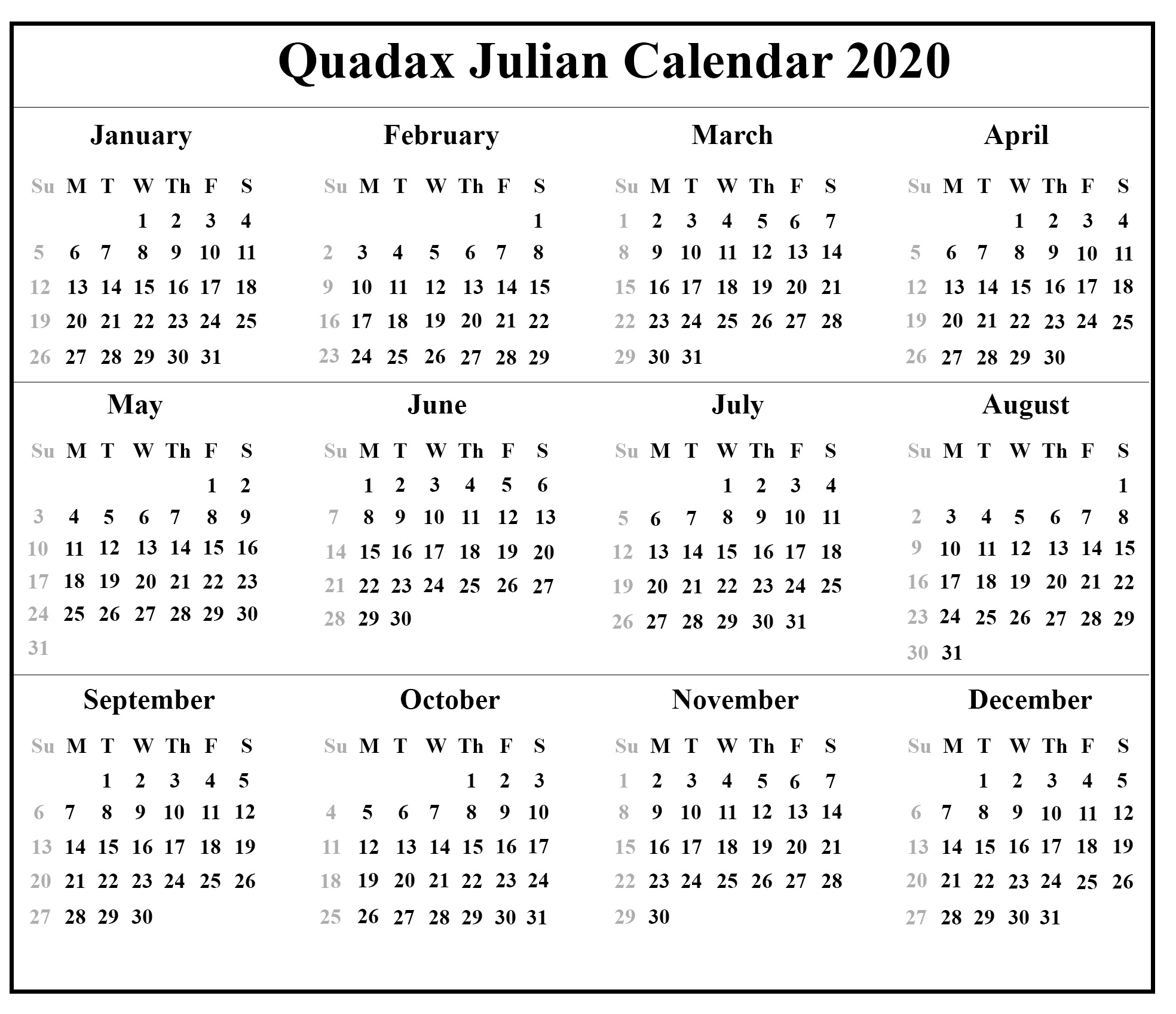 Quadax Julian Calendar 2020 Pdf | Example Calendar Printable throughout 2020 Julian Calendar
