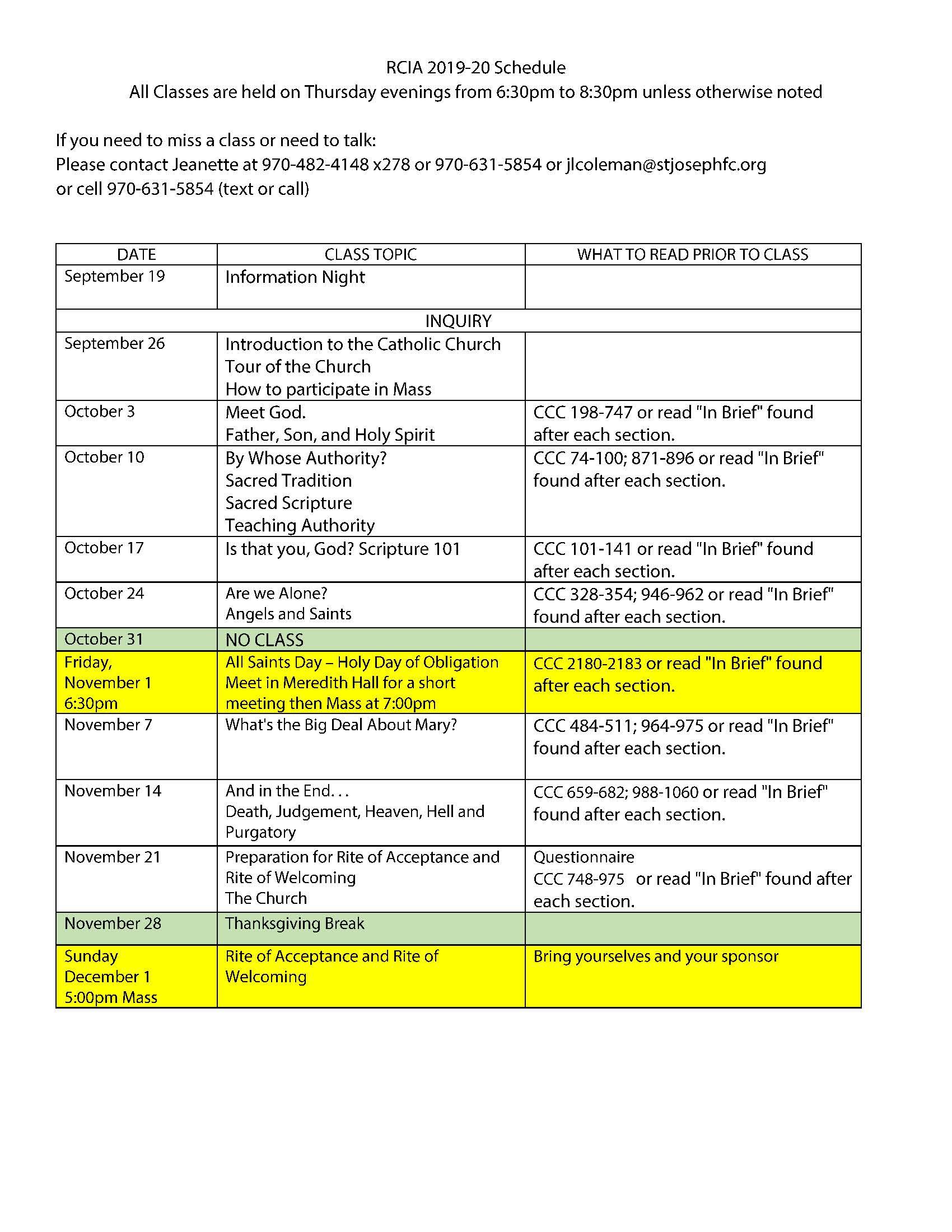 Rcia Schedule 2019-2020 - Saint Joseph Catholic Church regarding 2020 Catholic Liturgical Calendar Pdf