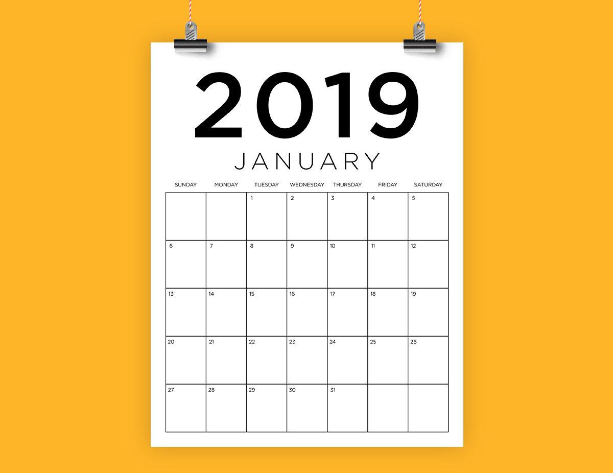 "Sale Vertical 8.5 X 11 Inch 2019 Calendar Template | Instant Download |  Modern Sans Serif Monthly Printable Calender | Prints 8.5"" X 11"" inside 8.5 X 11 Calendar Template"