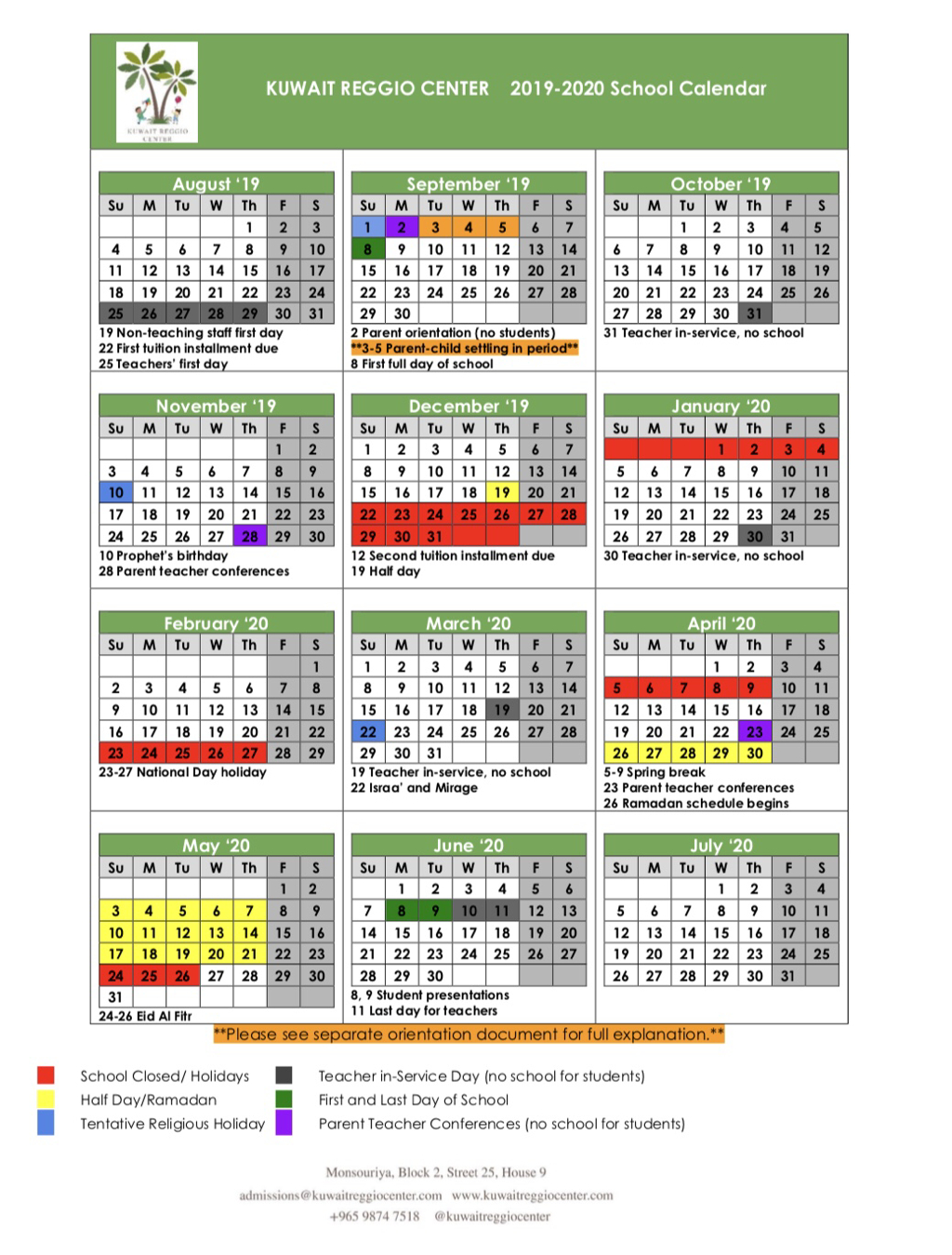Schedule And Academic Calendars - Kuwait Reggio Center pertaining to Kuwait 2020 Calendar