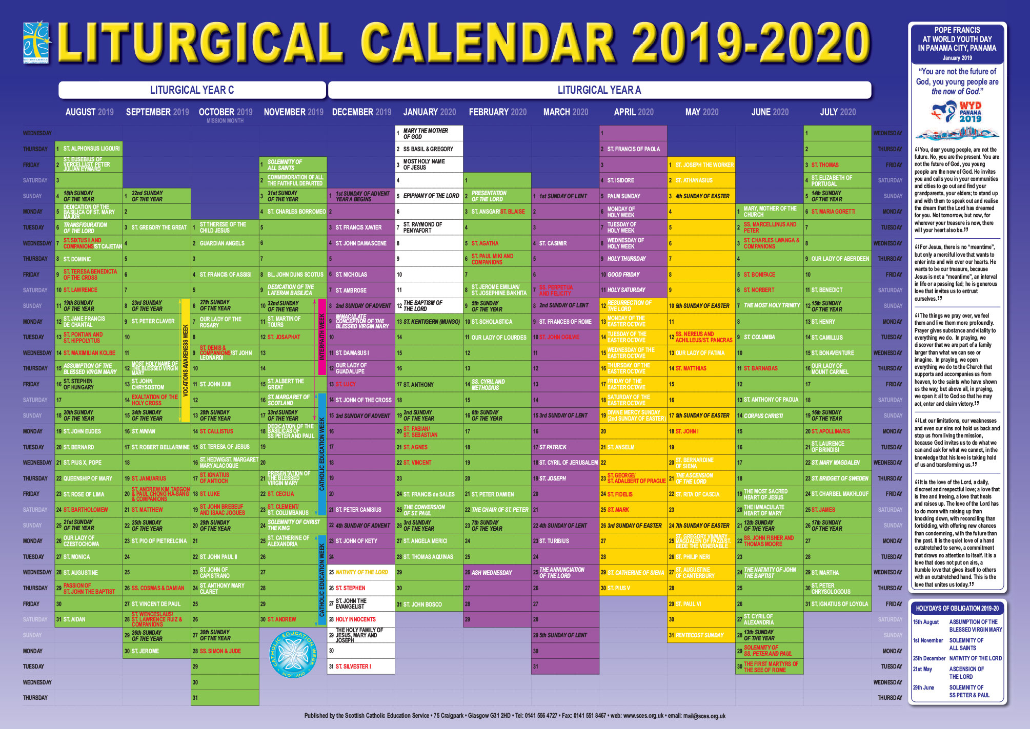 Scottish Catholic Education Service | Sces | Liturgical intended for 2020 Catholic Liturgical Calendar Pdf