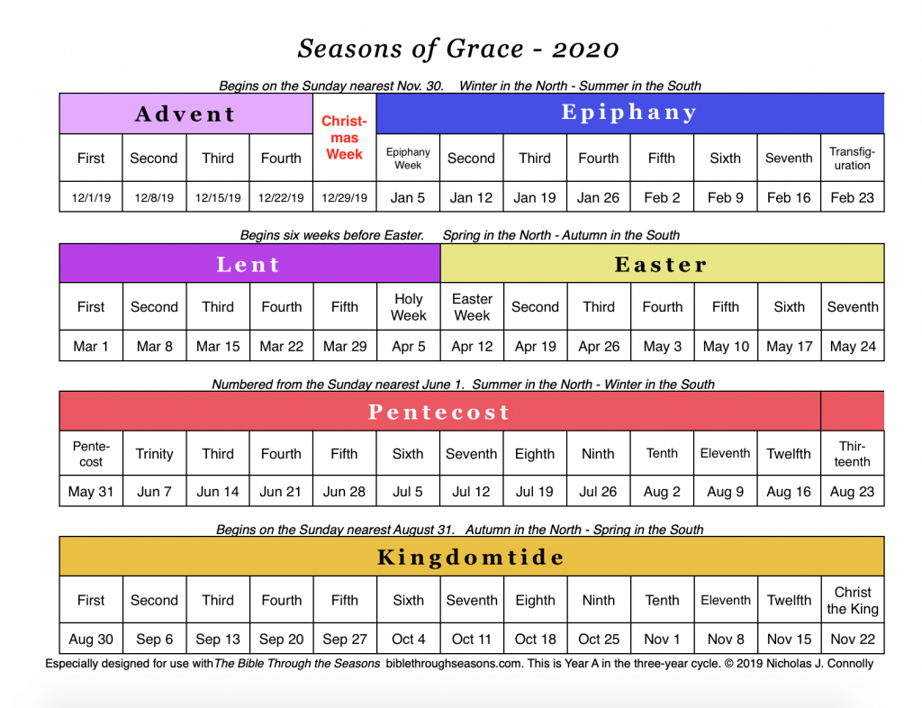 Seasons Of Grace: Liturgical Calendar – Matawan United with 2020 Catholic Liturgical Calendar Activities