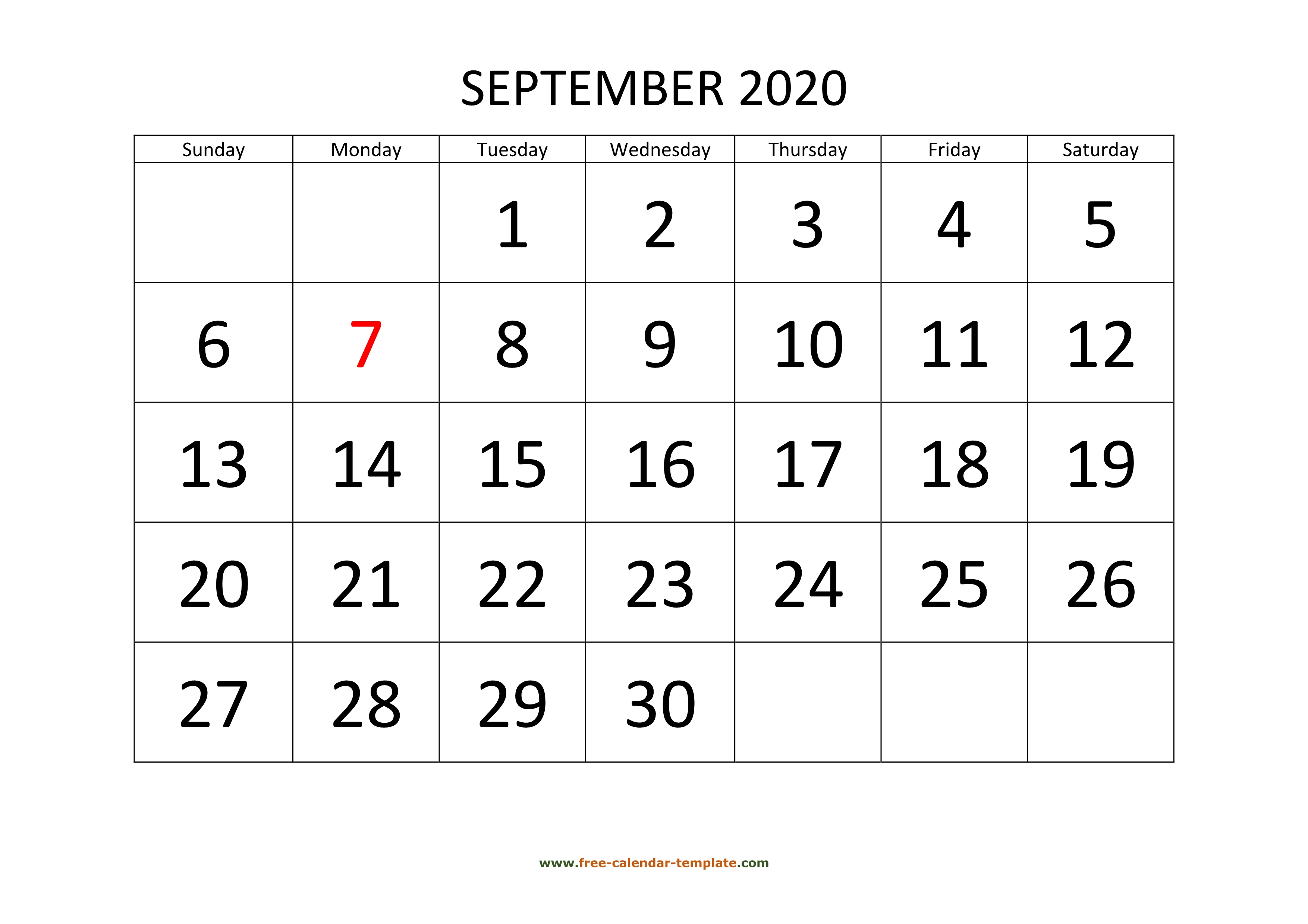September 2020 Calendar Designed With Large Font (Horizontal with Large Numbers Free Printable Calendar 2020