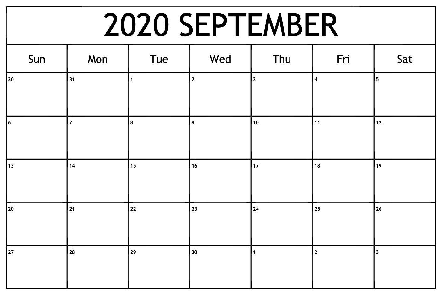 September 2020 Calendar Pdf | September Calendar, Calendar throughout Free Printable Monthly Calendar September 2020