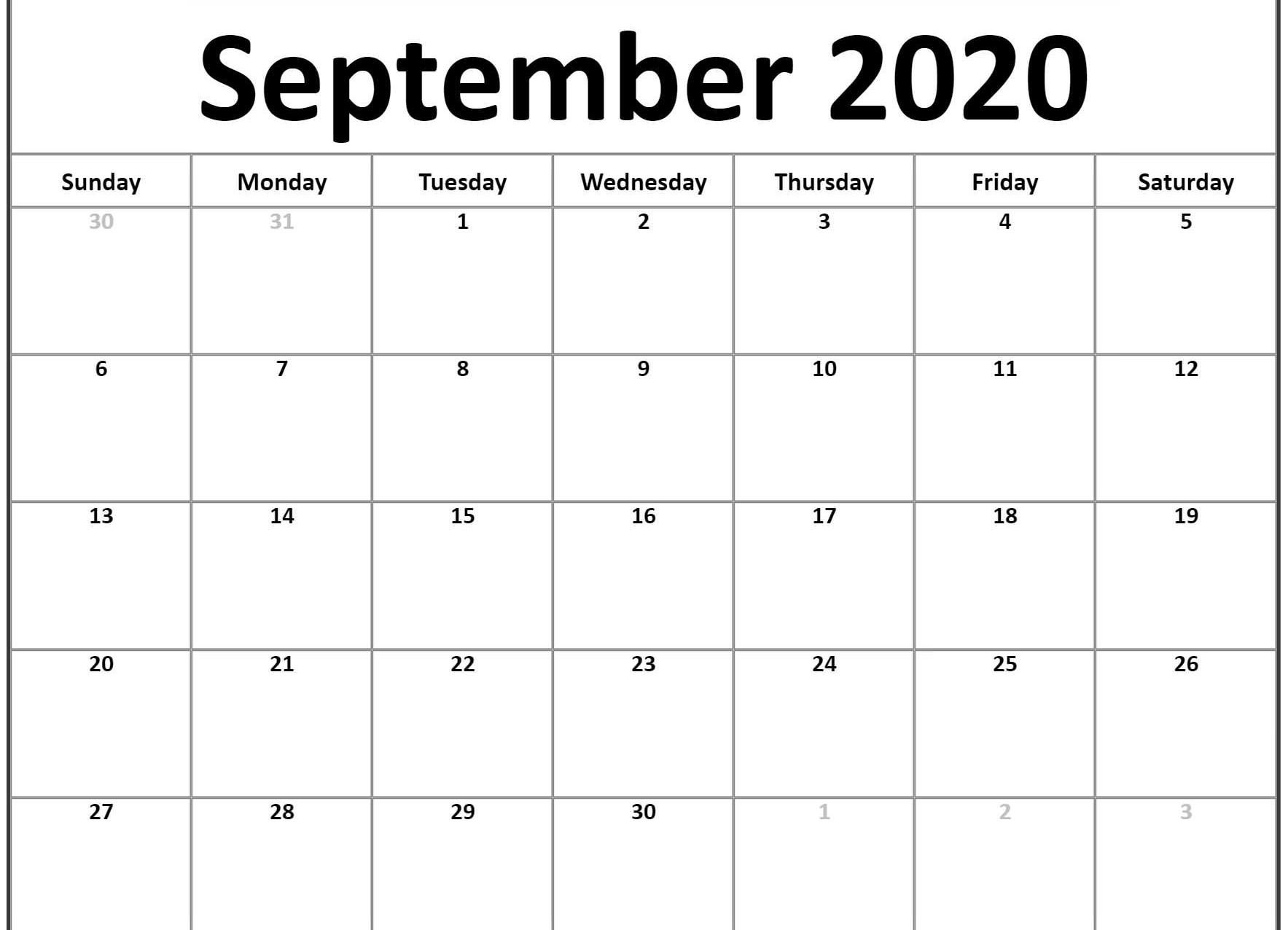 September 2020 Calendar Template In 2019 | Calendar Word for Free Printable Monthly Calendar September 2020