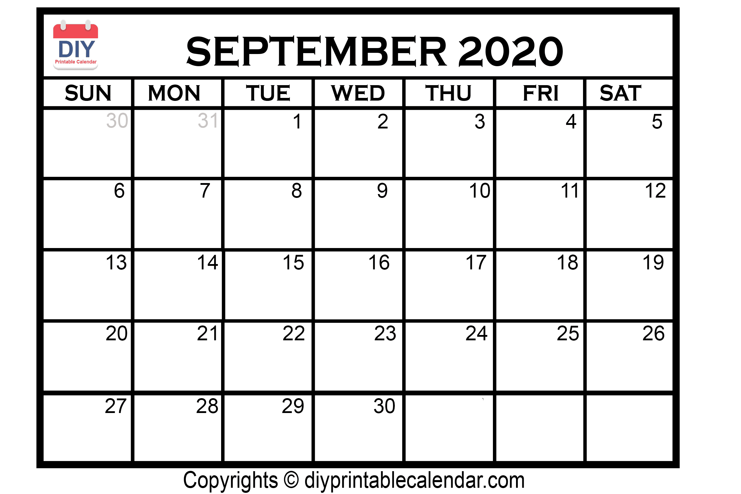 September 2020 Printable Calendar Template throughout Free Printable Monthly Calendar September 2020