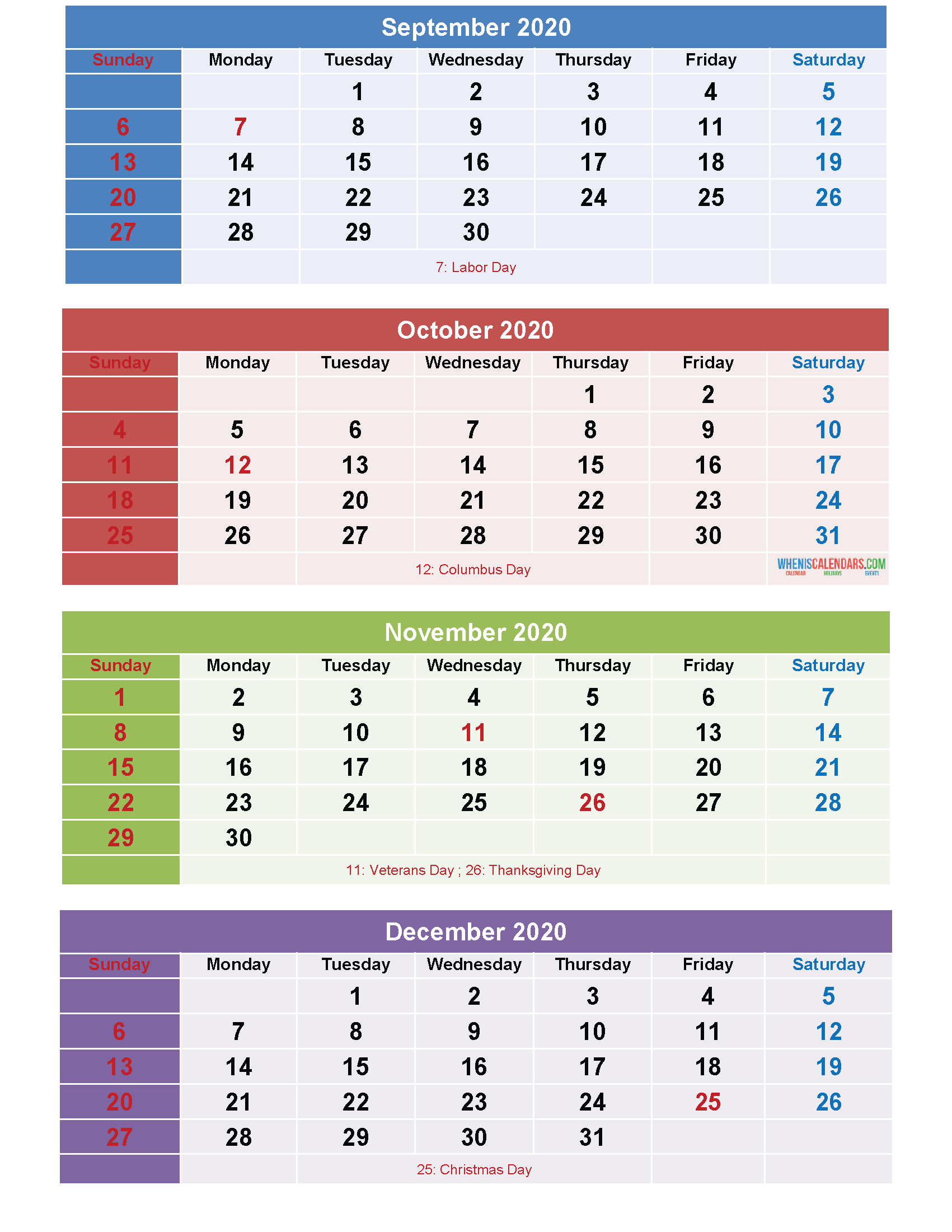 September October November December 2020 Calendar Printable regarding October To December 2020 Calendar