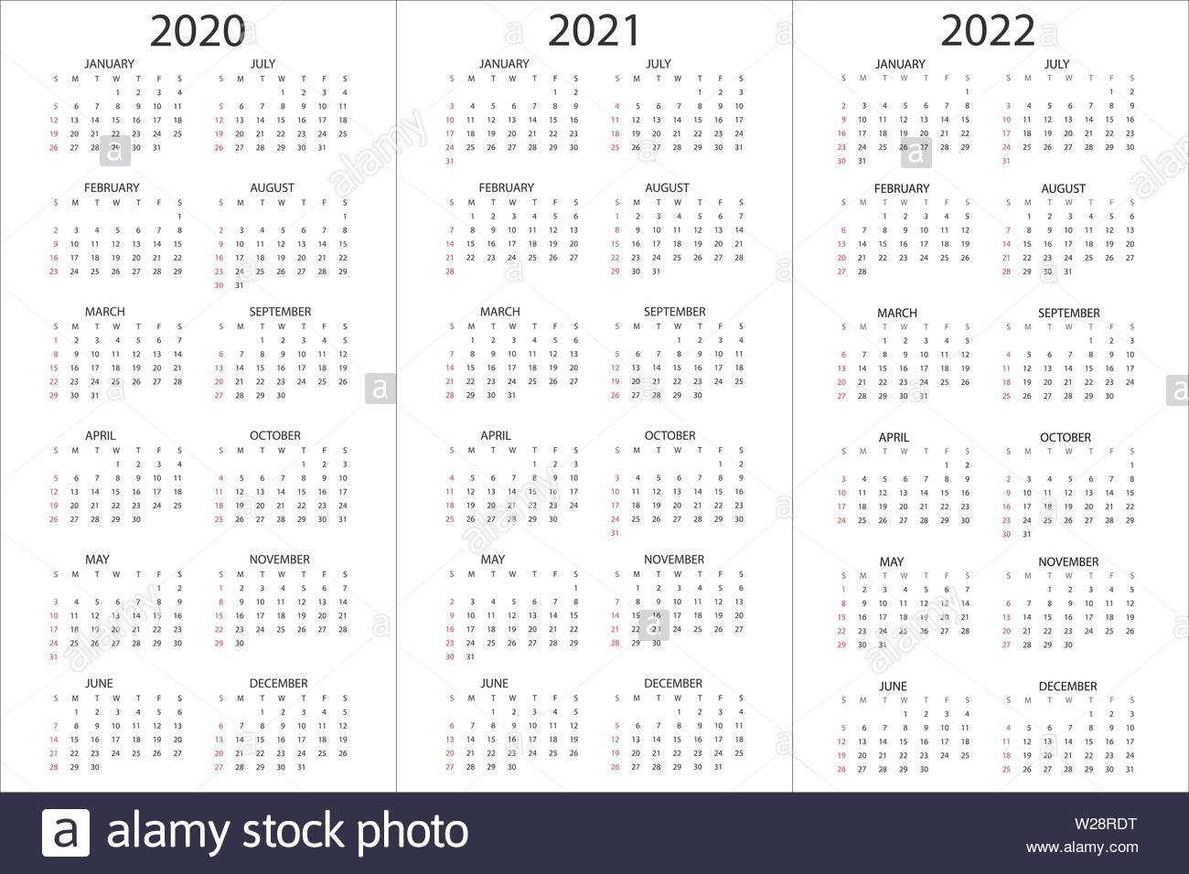 Set Of Calendars 2020, 2021, 2022 Years, Simple Design for 2020 Calendar Vertical