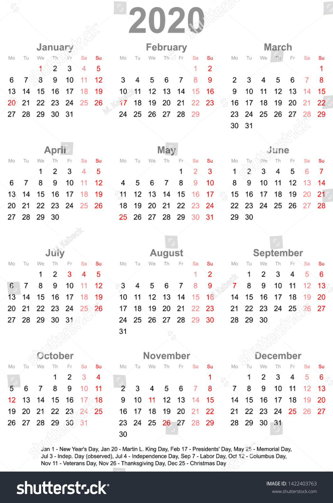 Simple Calendar 2020 One Year Glance Stock Vector (Royalty pertaining to Calendar At A Glance With Usa Holidays For 2020