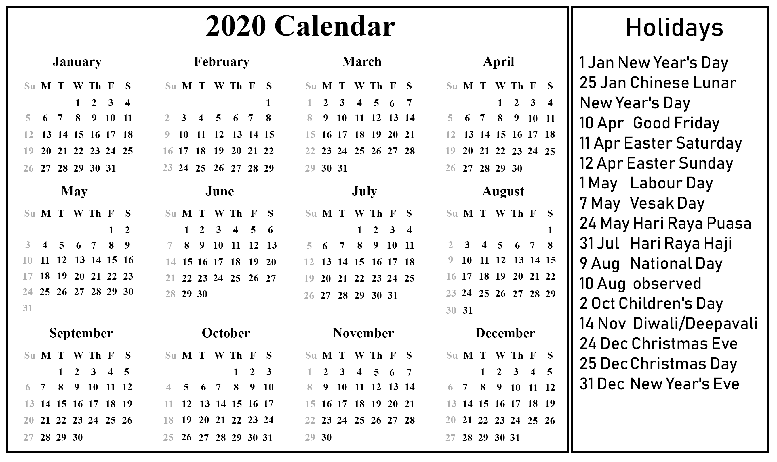 Singapore 2020 Printable Calendar | Printable Calendar inside 2020 Calendar With Holidays