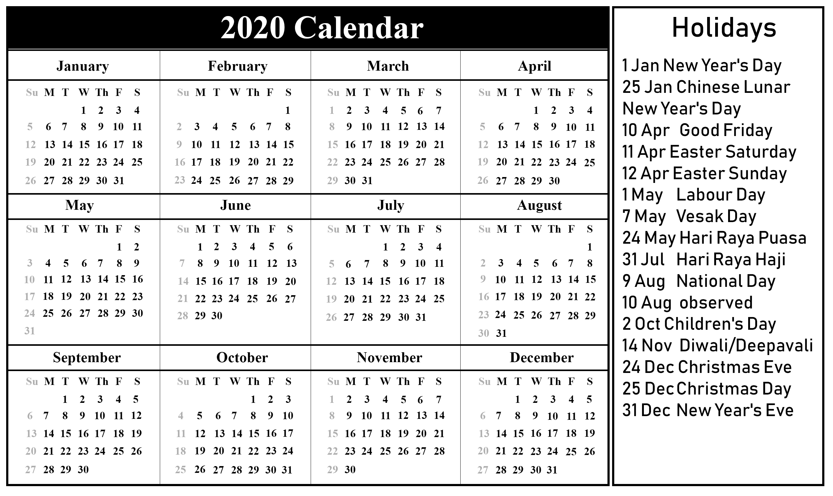Singapore Calendar 2020 | Printable December Calendar Template throughout 2020 Sri Lanka Calendar