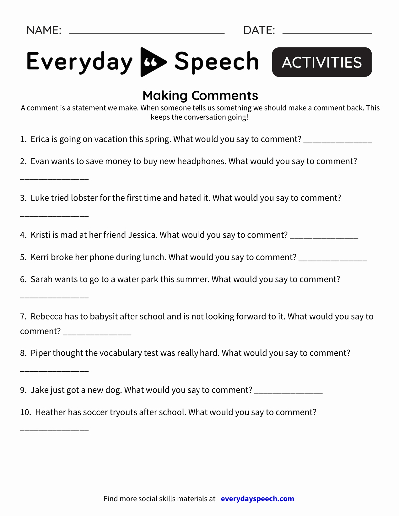 Social Skills Video Lessons For Students | Everyday Speech pertaining to Printable Social Skills Fill In The Blanks